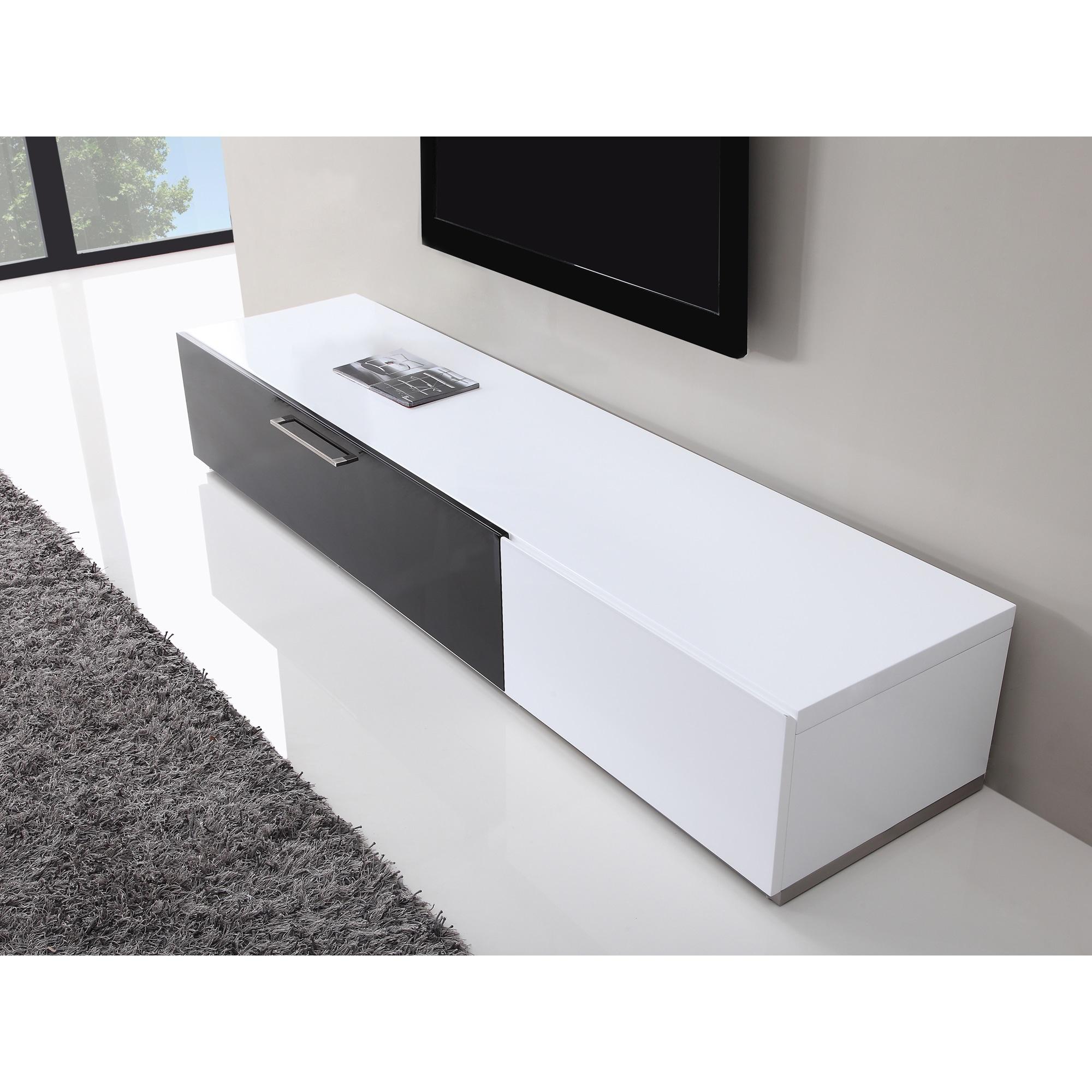 Shop B Modern Producer White Black Modern Tv Stand With Ir Glass