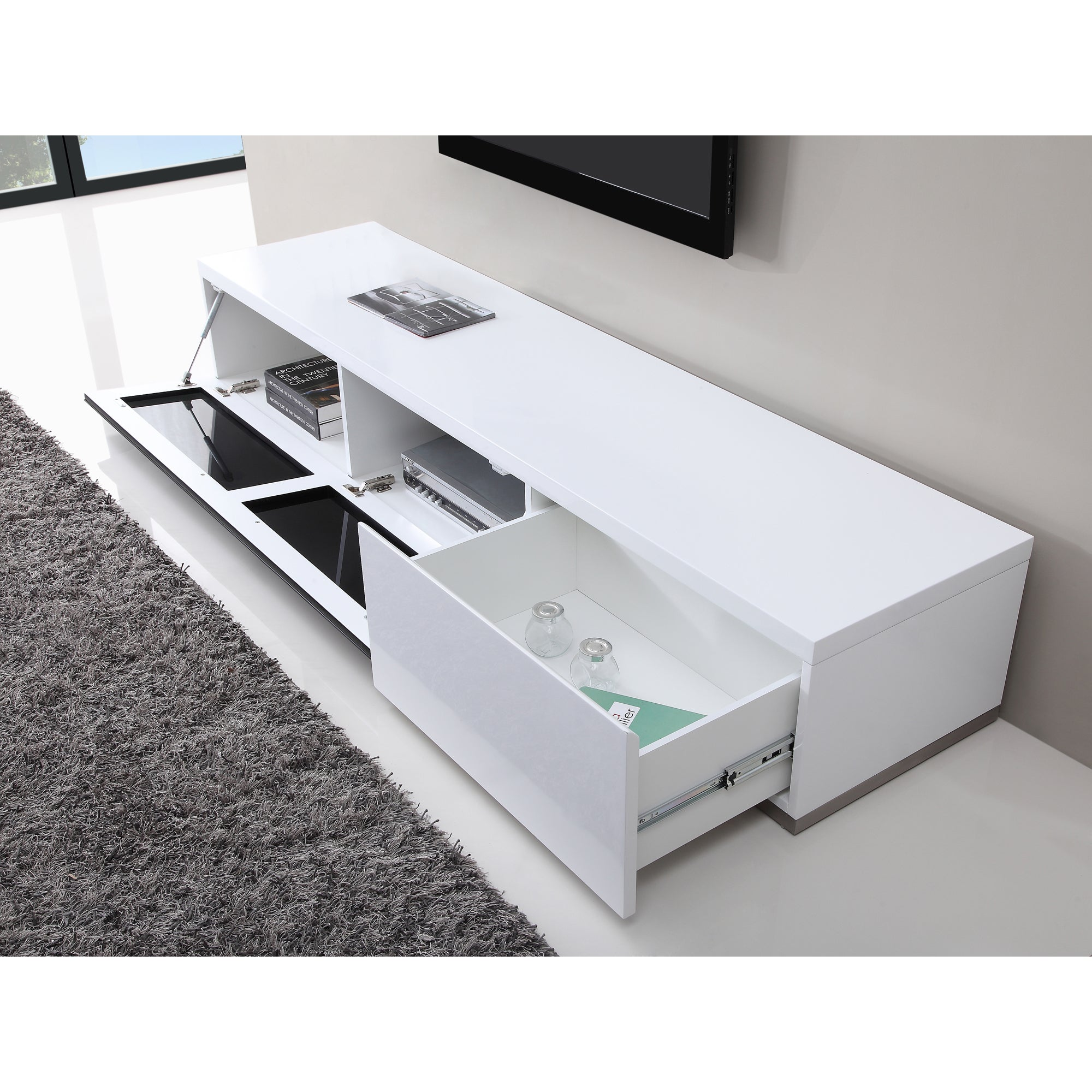 B Modern Producer White Black Tv Stand With Ir Gl Free Shipping Today 10366704