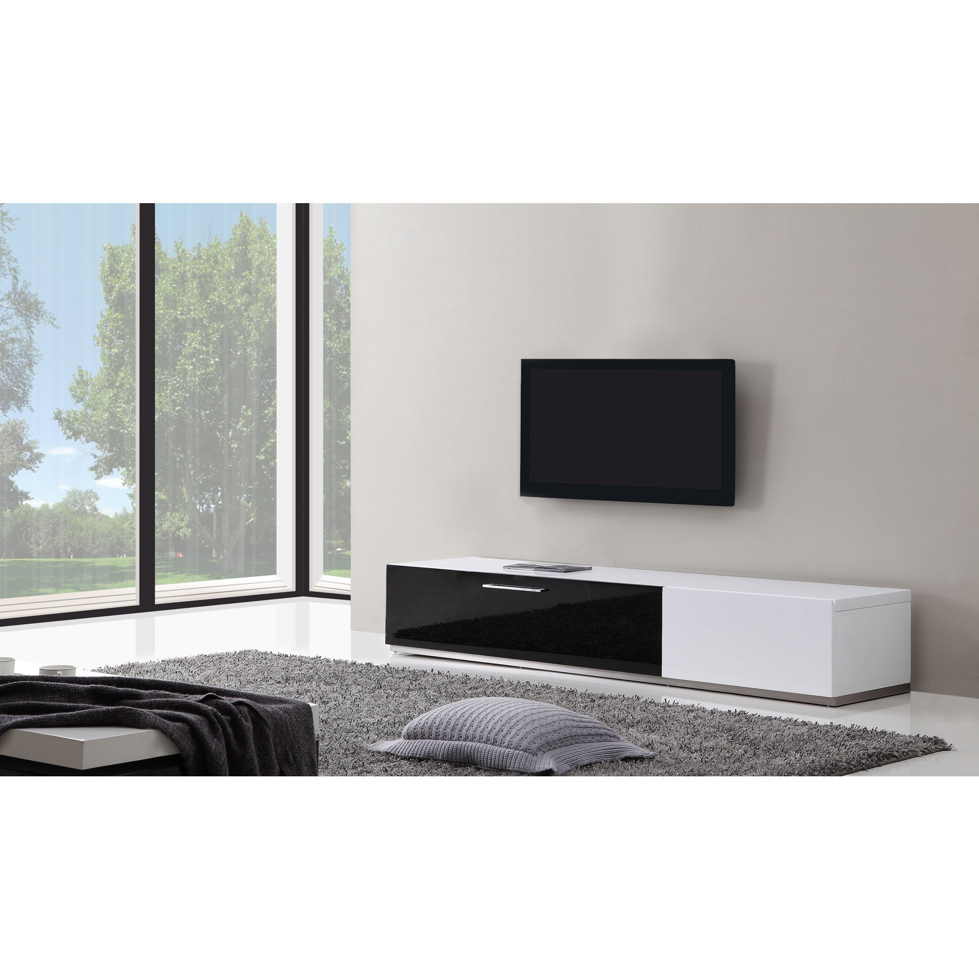 Shop B-Modern Producer White/ Black Modern TV Stand with IR Glass ...