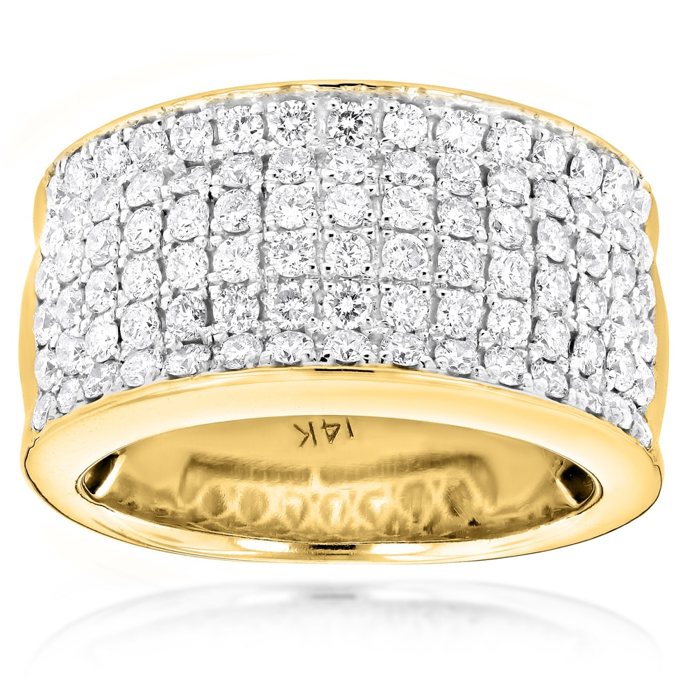 Shop Luxurman 14k Gold Women's 2ct Tdw Diamond Wide Wedding Band On Sale Free Shipping Today Overstock 10367492: Wide Gold Wedding Rings Women At Websimilar.org