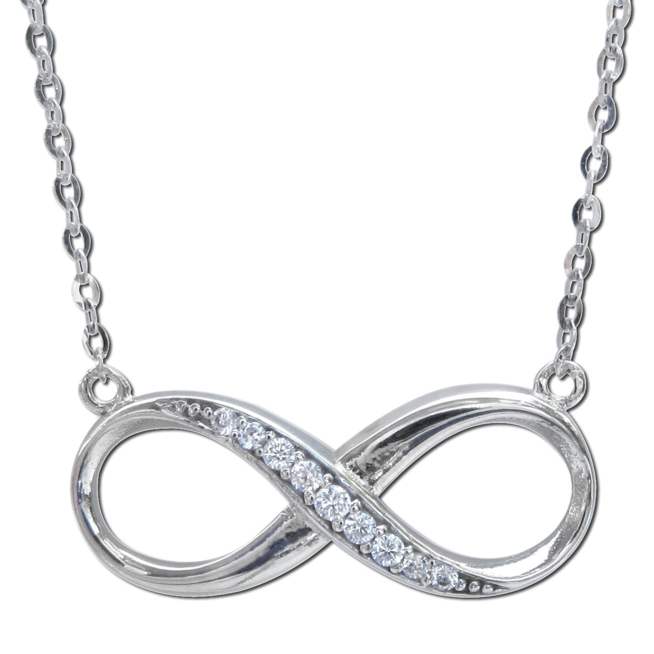 Shop 14k White Gold Cubic Zirconia Infinity Symbol Floating Charm