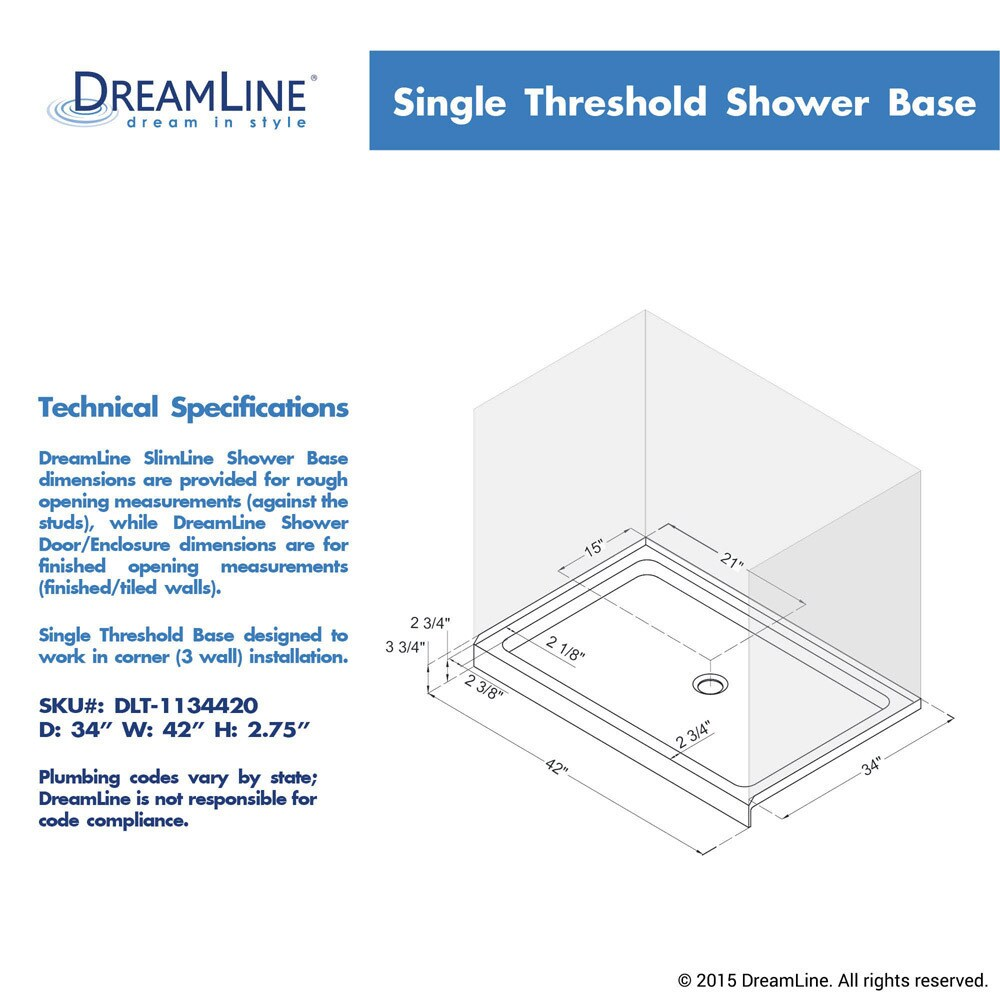 Shop DreamLine SlimLine 34 In. By 42 In. Single Threshold Shower Base    Free Shipping Today   Overstock.com   10371600