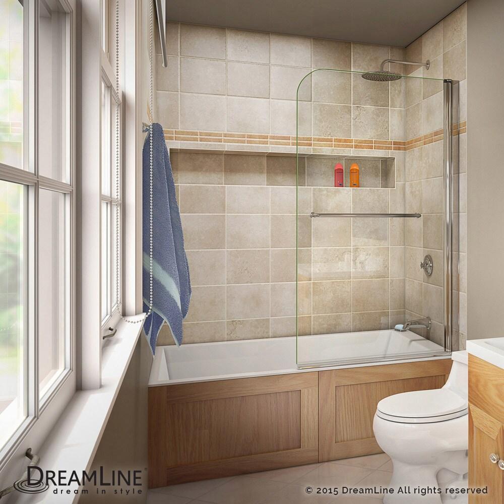 DreamLine Aqua Swing Tub Door 34 in. W x 58 in. H Clear Glass Tub ...