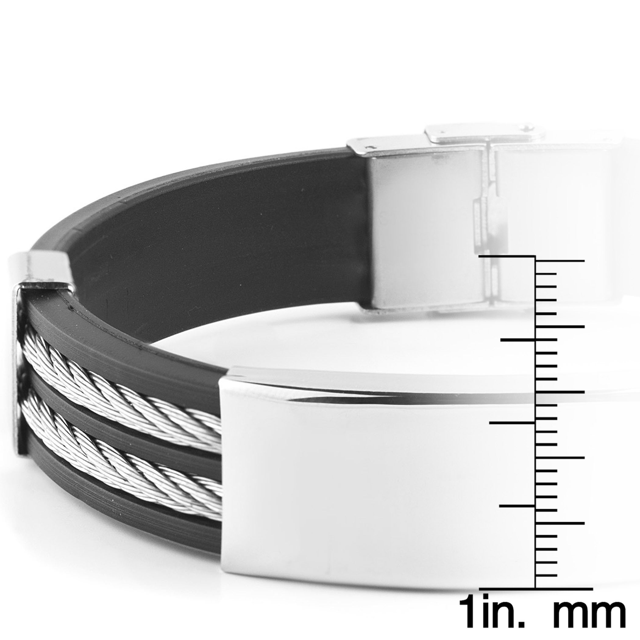 7b8b2fb88838f Men's Stainless Steel Cable Inlay Rubber ID Bracelet