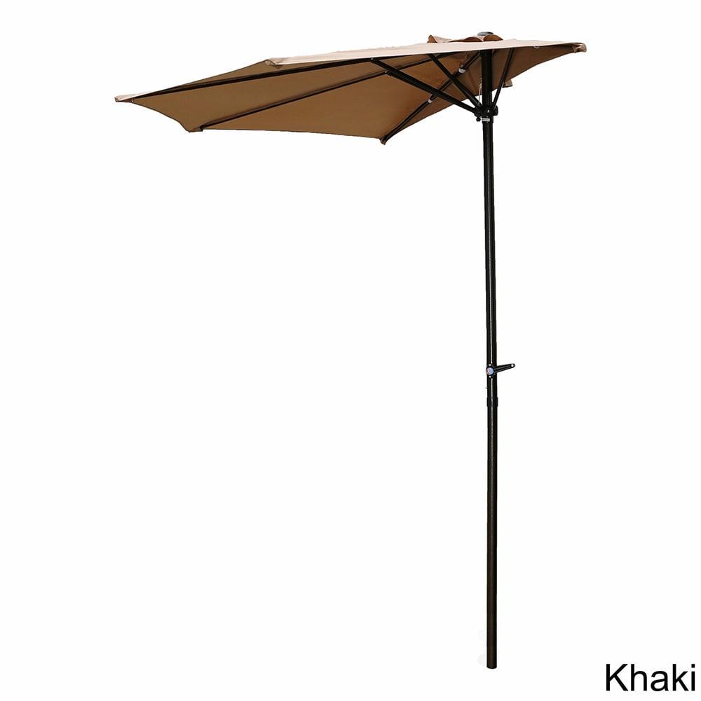 International Caravan St Kitts 9 Foot Crank Wall Hugger Half Patio Umbrella On Free Shipping Today 10372523