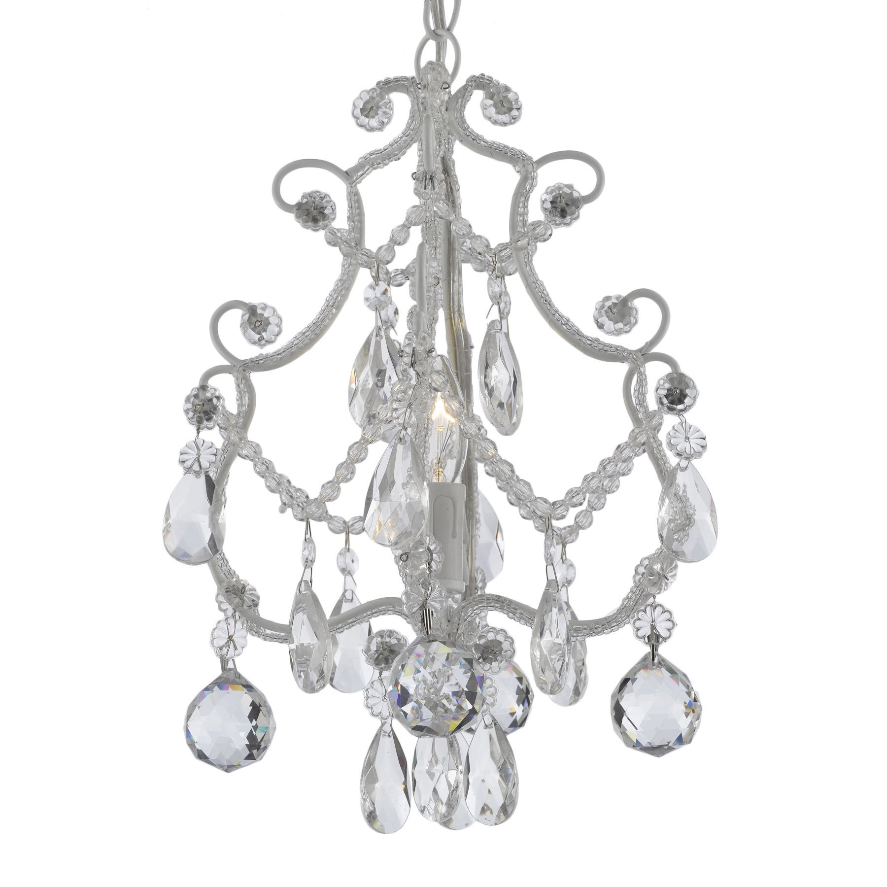 Wrought Iron And Crystal 1 Light White Chandelier Pendant Free Today Com 10372760