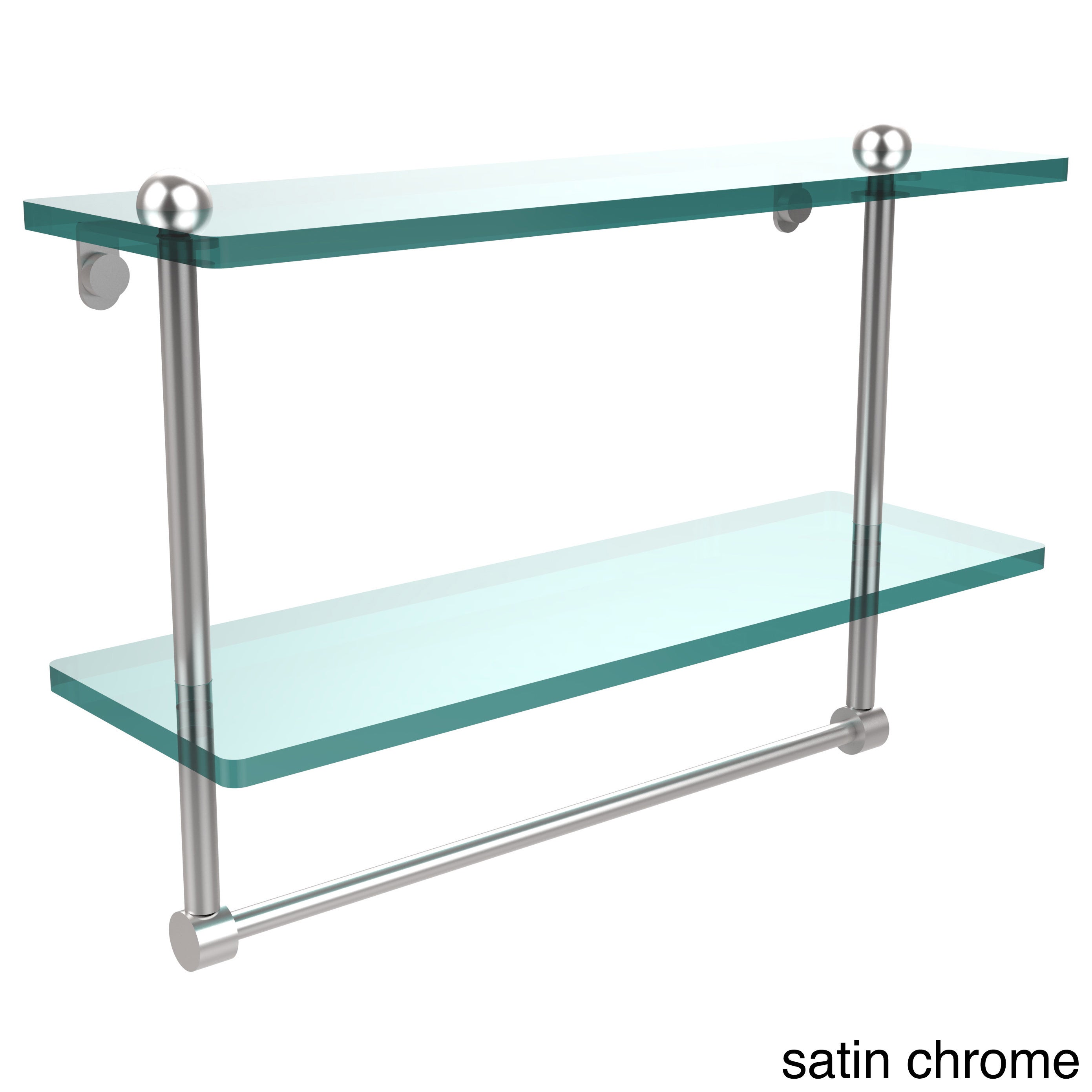 Shop 16-inch Two Tiered Glass Shelf with Integrated Towel Bar - Free ...