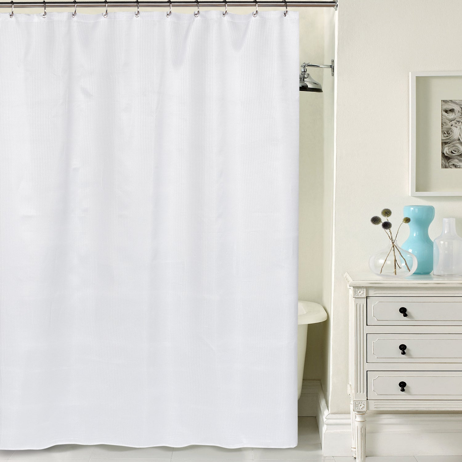 weave shower polyester curtains black waffle at curtain home