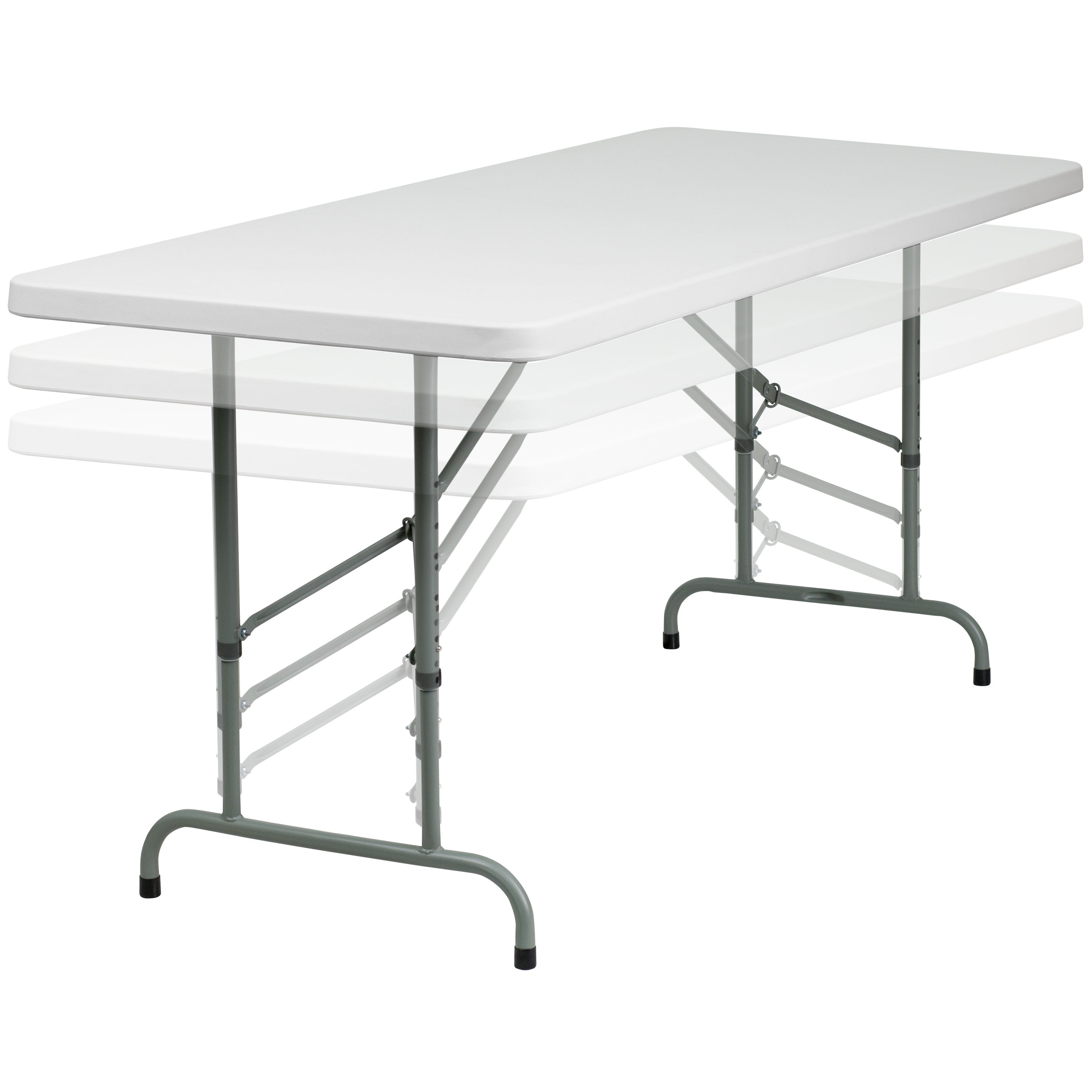 White Plastic Height Adjustable Folding Table   Free Shipping Today    Overstock   17479608