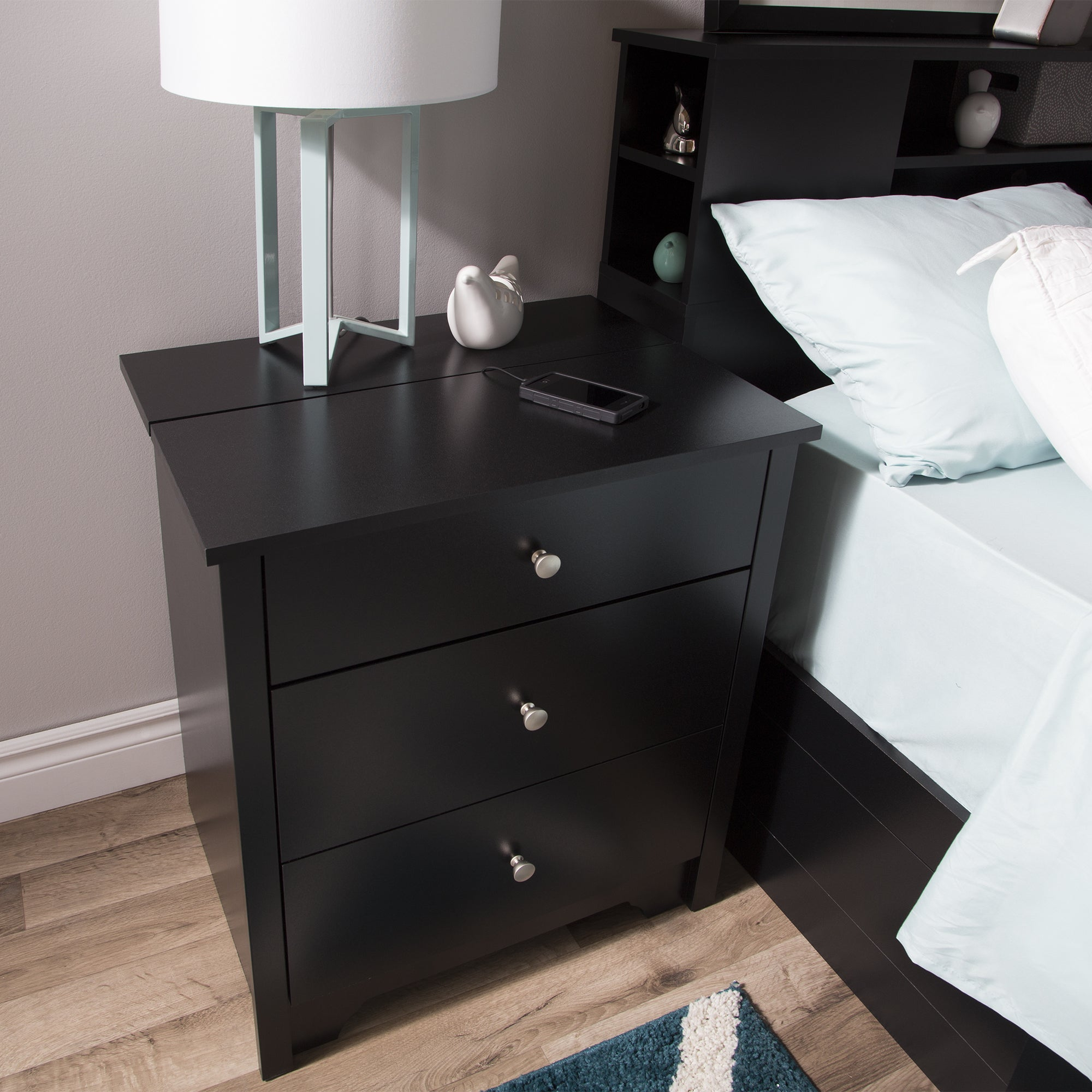 Elegant South Shore Vito Nightstand With Charging Station And Drawers   Free  Shipping Today   Overstock.com   17479676