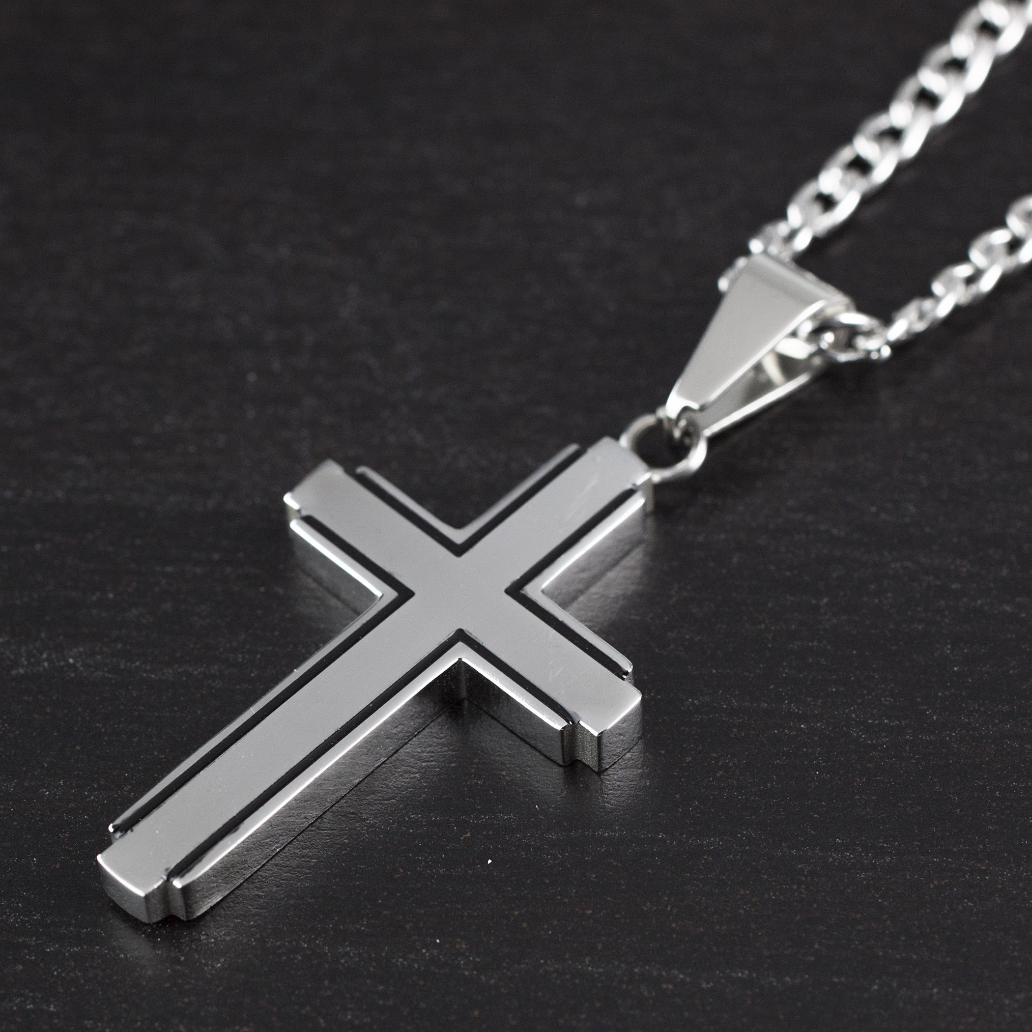 5e32b042290 Shop Stainless Steel Black Inlay Cut-out Cross Pendant - Free Shipping On  Orders Over  45 - Overstock - 10375733