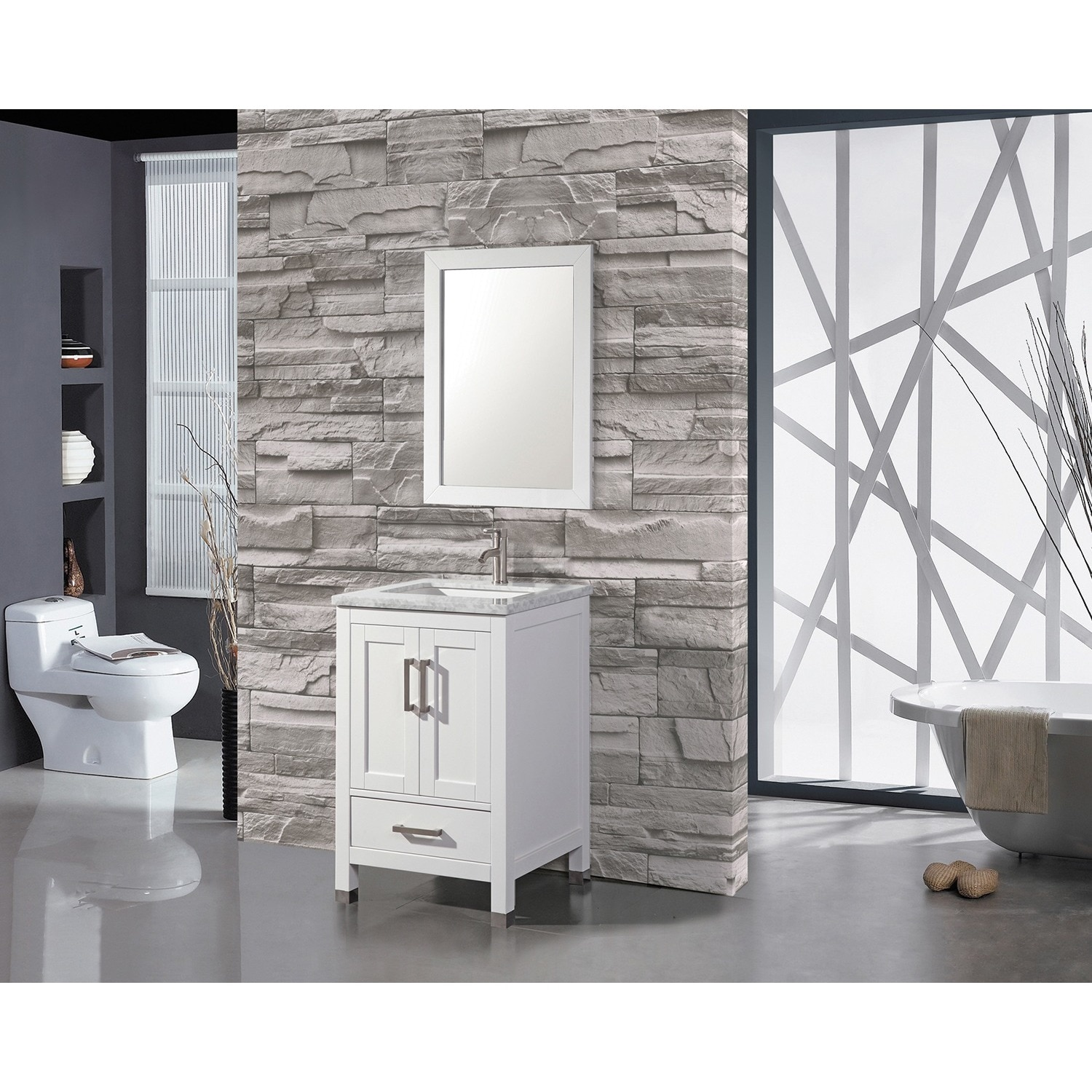 Superieur Shop MTD Vanities Ricca 24 Inch Single Sink Bathroom Vanity Set With Mirror  And Faucet   Free Shipping Today   Overstock.com   10378611