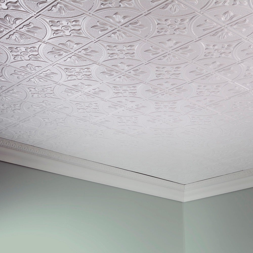 Fasade Traditional Style 2 Gloss White Ft X 4 Glue Up Ceiling Tile