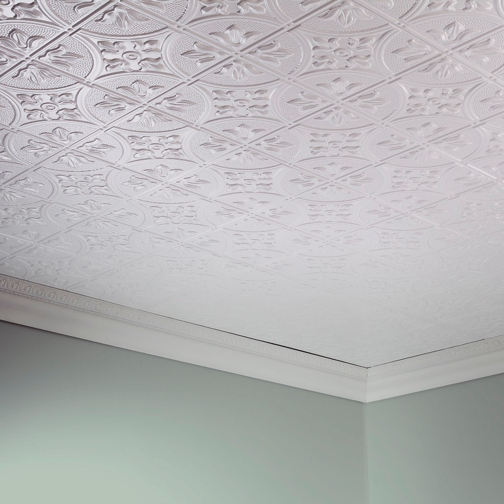 Shop Fasade Traditional Style 2 Matte White 2 X 4 Glue Up Ceiling
