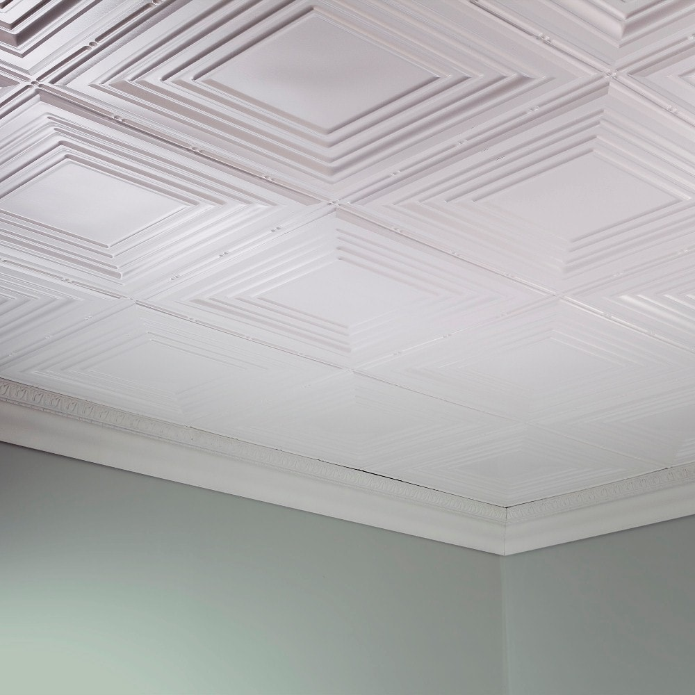 Fasade Traditional Style 3 Gloss White 2 Ft X 4 Glue Up Ceiling Tile