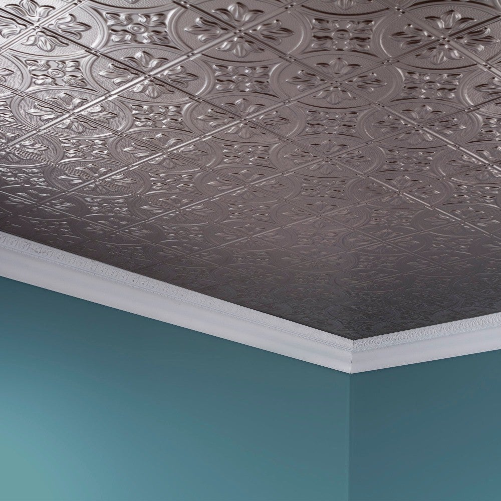 Fasade Traditional Style 2 Brushed Nickel Ft X 4 Glue Up Ceiling Tile