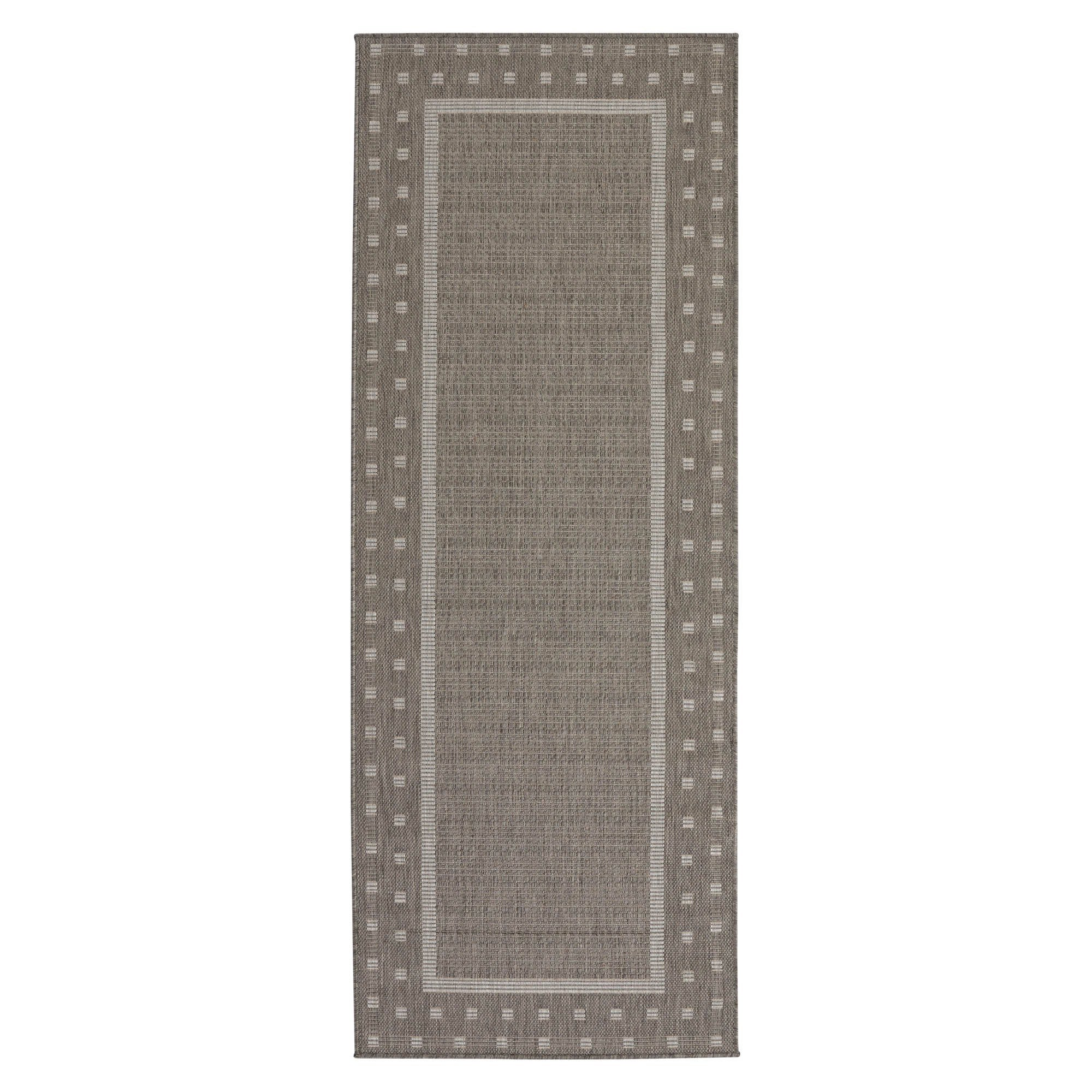 Ottomanson Jardin Collection Grey Contemporary Bordered Design Indoor Outdoor Area Rug 2 7 X Free Shipping On Orders Over 45 Com