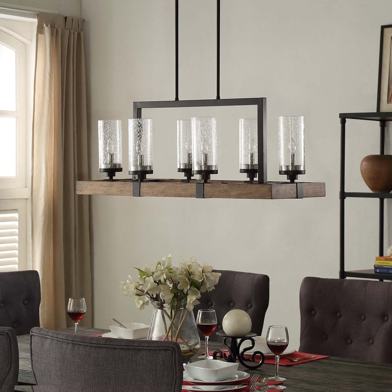 The Gray Barn Vineyard Metal And Wood 6 Light Chandelier With Seeded Gl Shades Free Shipping Today 10379621