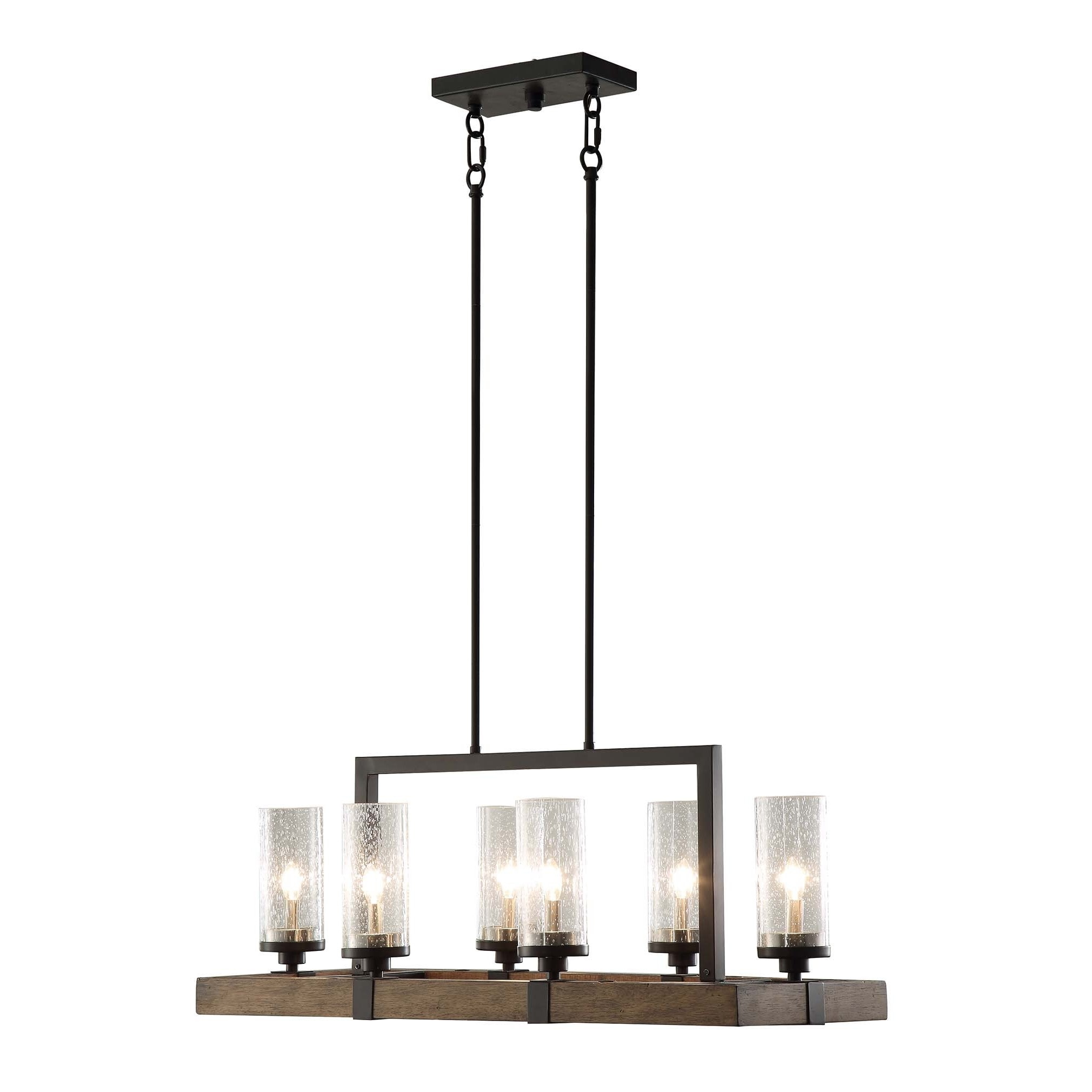 Vineyard Metal and Wood 6 Light Chandelier with Seeded Glass