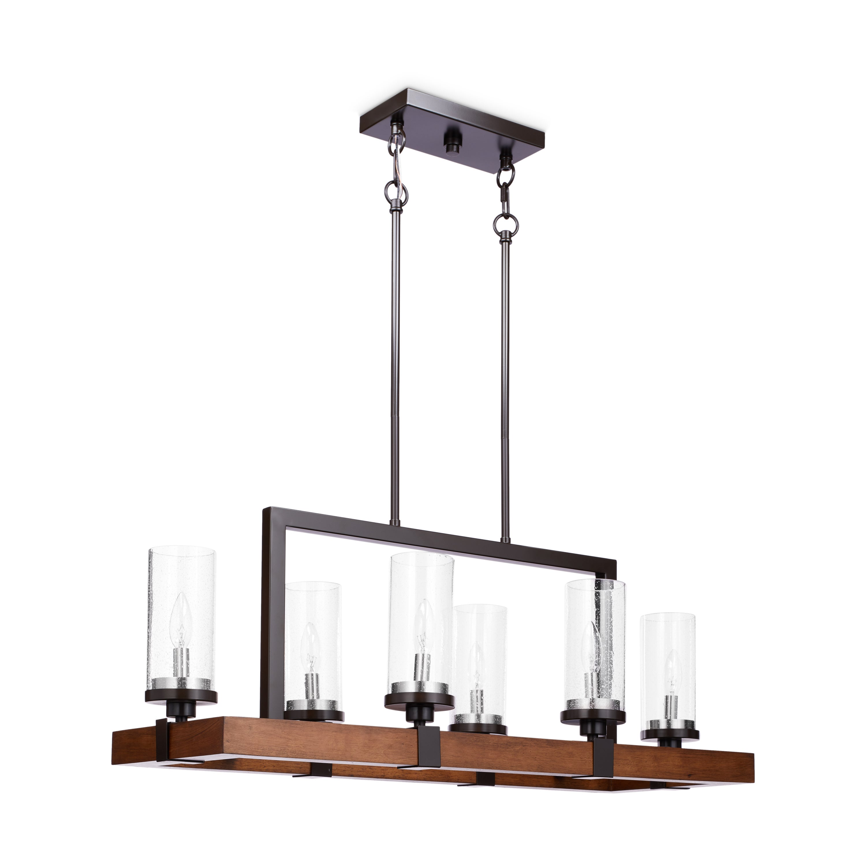 Vineyard Metal And Wood 6 Light Chandelier With Seeded Glass Shades   Free  Shipping Today   Overstock.com   17484995