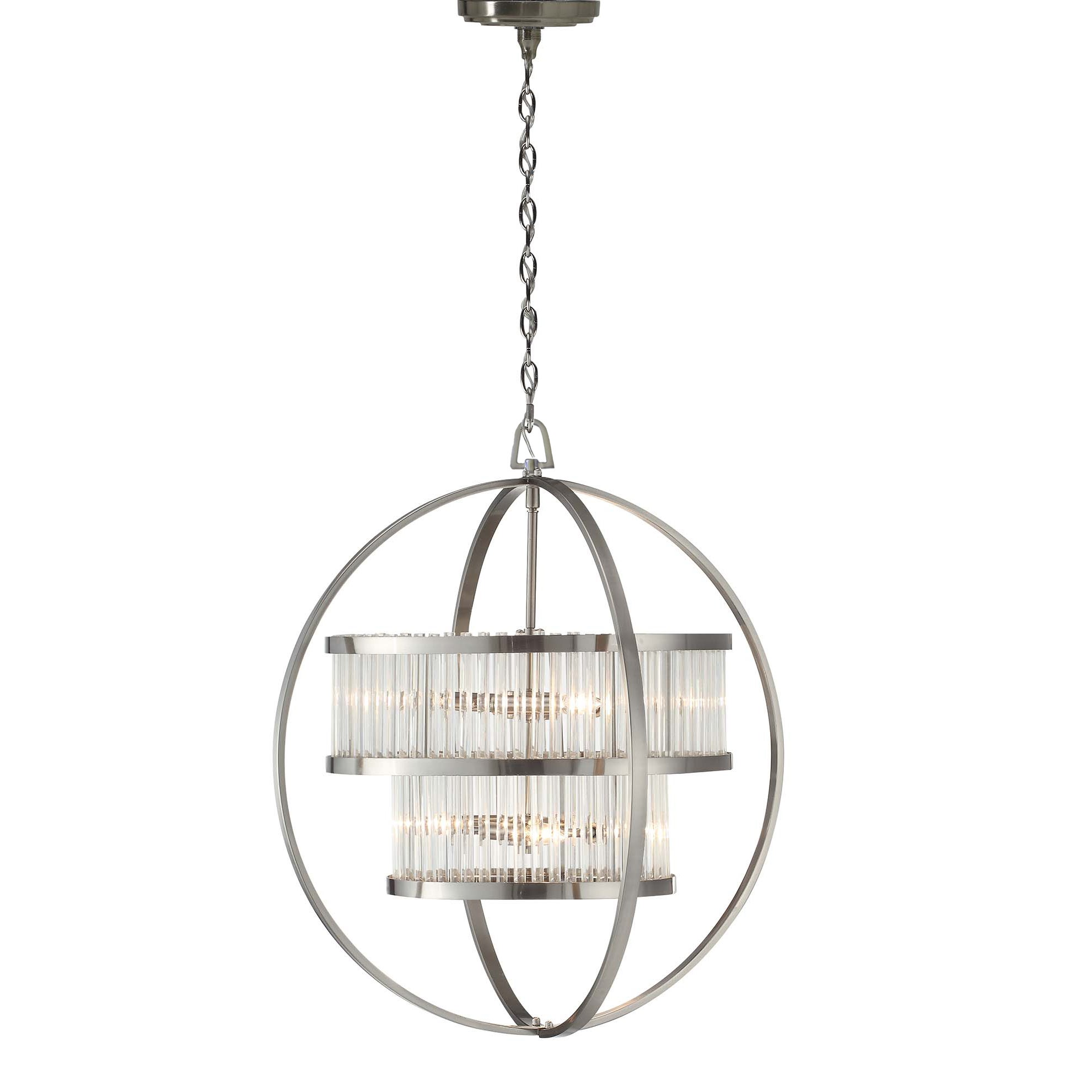 Brushed Nickel Crystal Orb 6 Light Chandelier Free Shipping Today 17484997