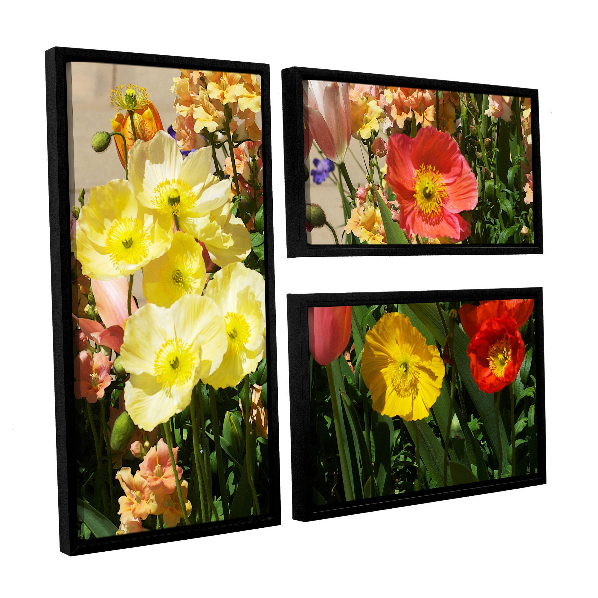 Shop ArtWall Allan Friedlander \'Yellow Flowers\' 3 Piece Floater ...