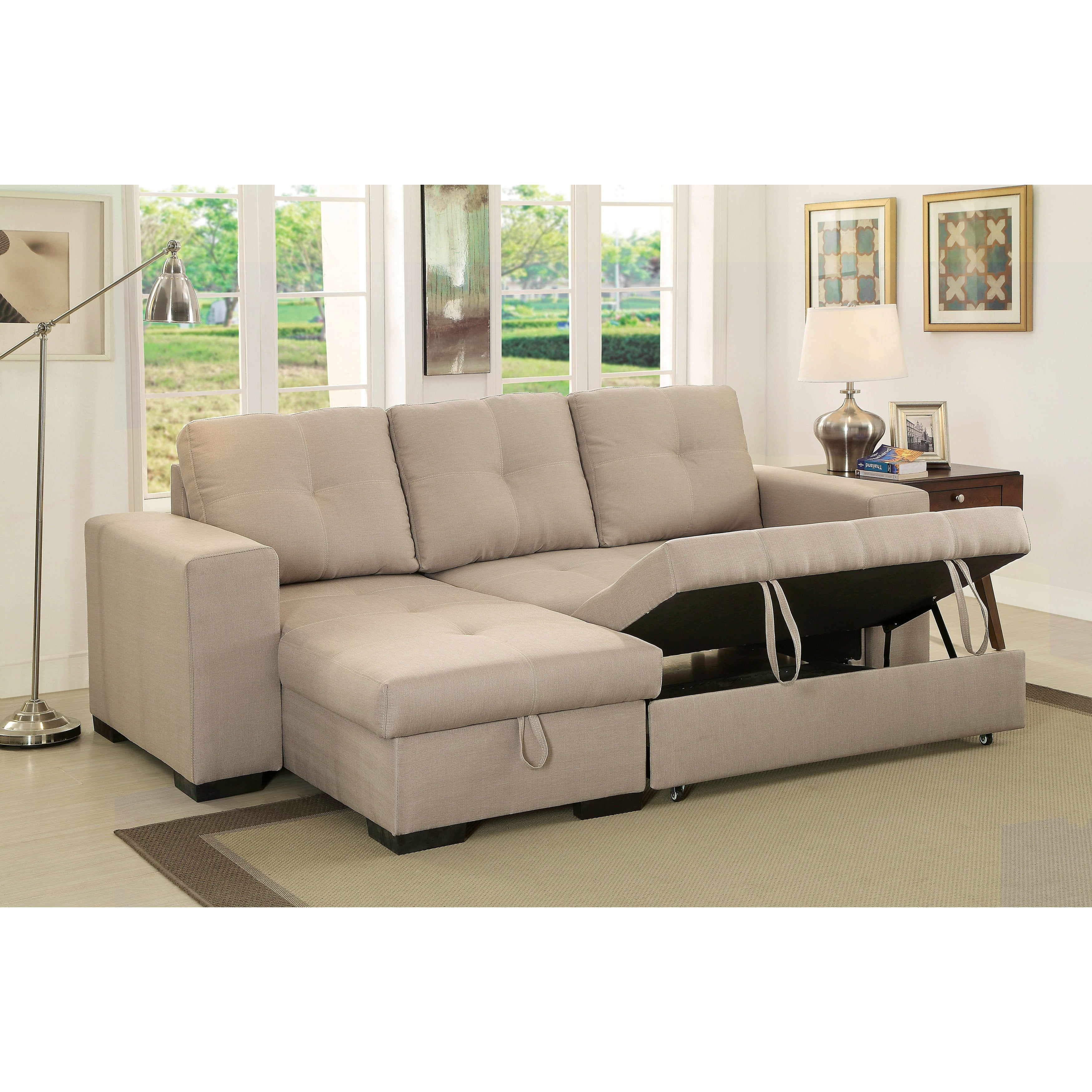 Furniture Of America Sagel Reversible Sectional With Pull Out Sleeper    Free Shipping Today   Overstock   17488055