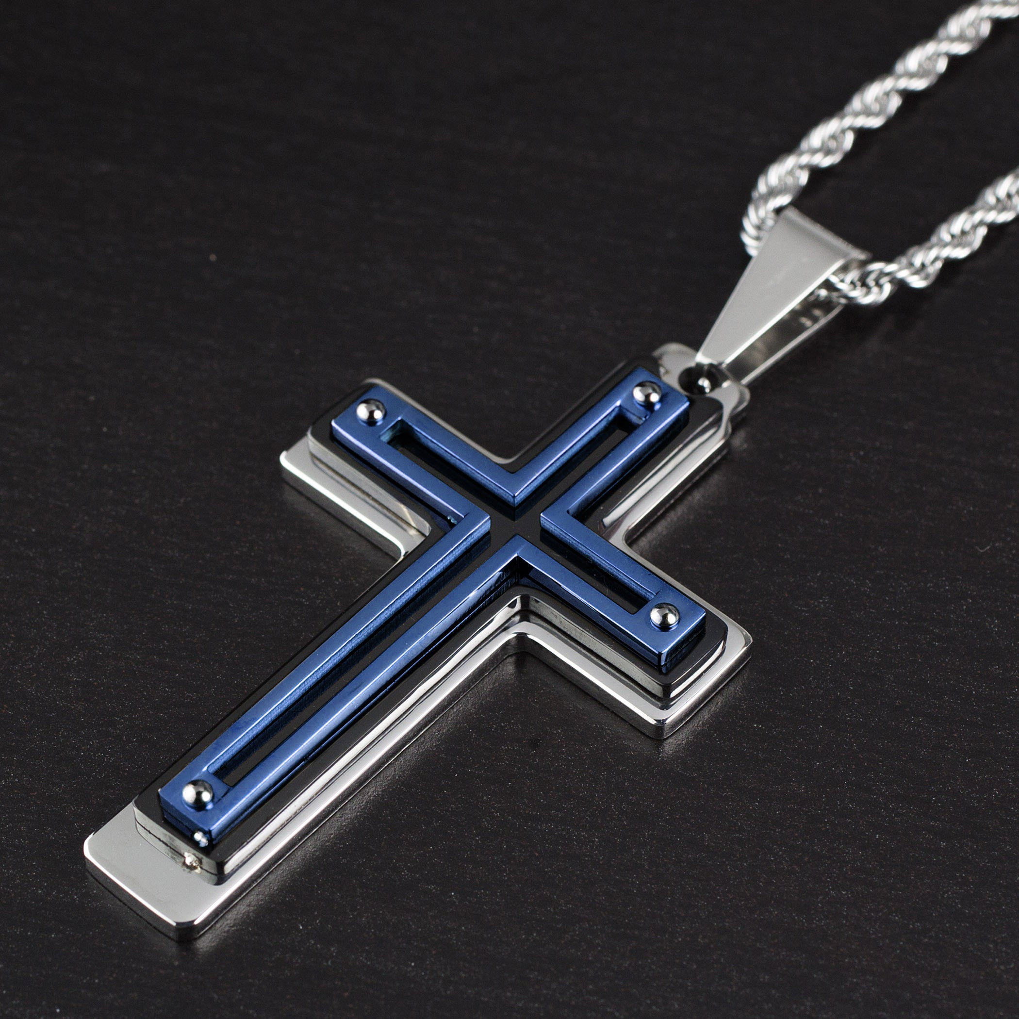 necklace free tag overstock men inlay steel over color watches pendant on jewelry cable mens tri stainless s product orders shipping