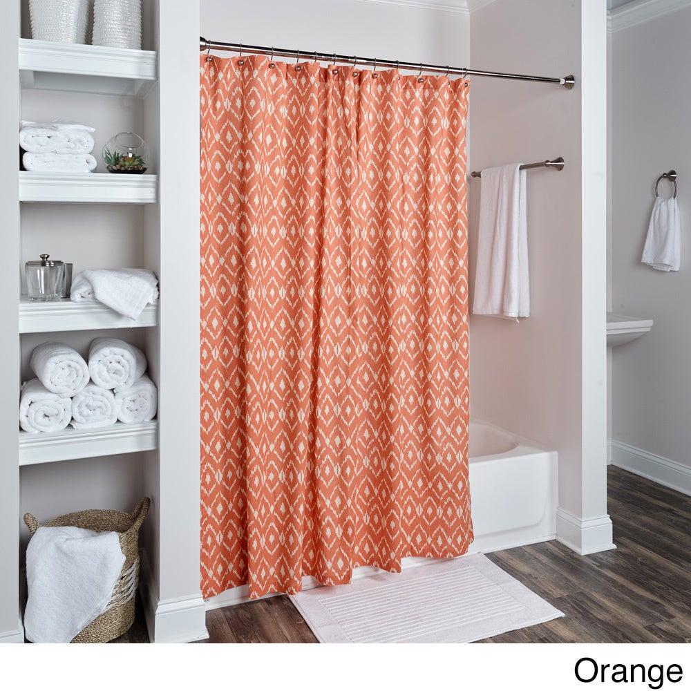 Shop Rizzy Home Ikat Shower Curtainsm Blue Red Orange