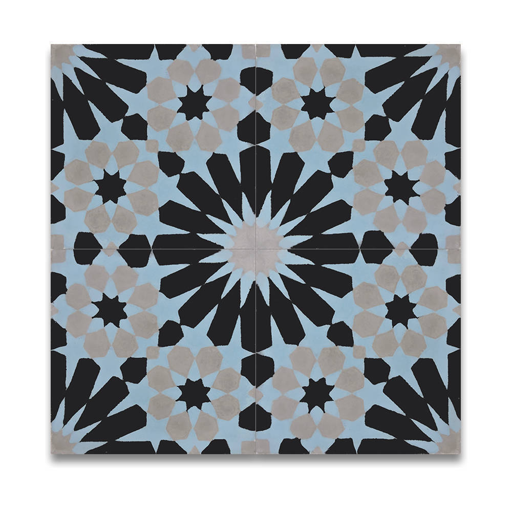 Shop Agdal Blue, Grey and Black Handmade Moroccan 8 x 8 inch Cement ...