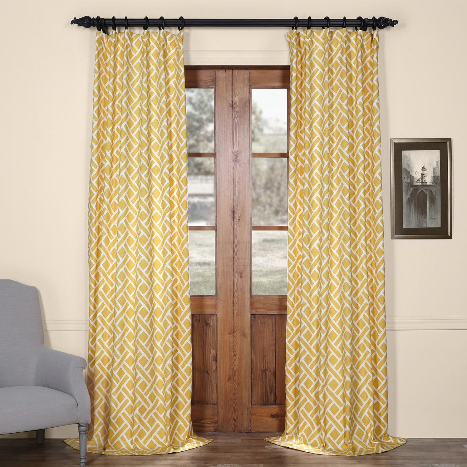 Shop Exclusive Fabrics Martinique Geometric Pattern Cotton Curtain ...