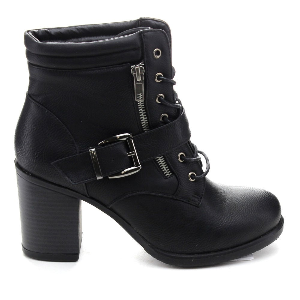 34a413eb1dc80 Shop Betani Tanya-1 Women s Lace Up Buckle Strap Chunky Heel Combat Ankle  Booties - Free Shipping On Orders Over  45 - Overstock - 10387904