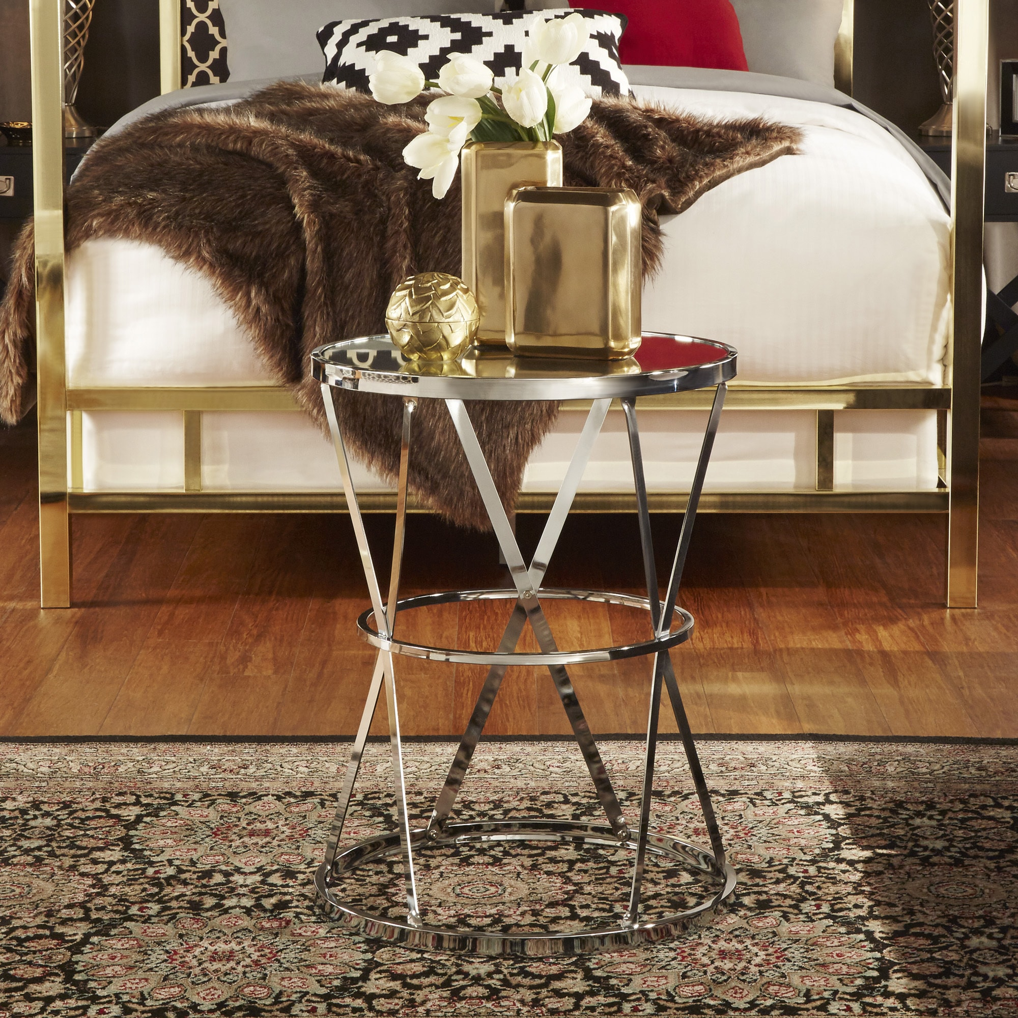 Berke Mirrored Top Round End Side Table by iNSPIRE Q Bold - Free Shipping  Today - Overstock.com - 17492429
