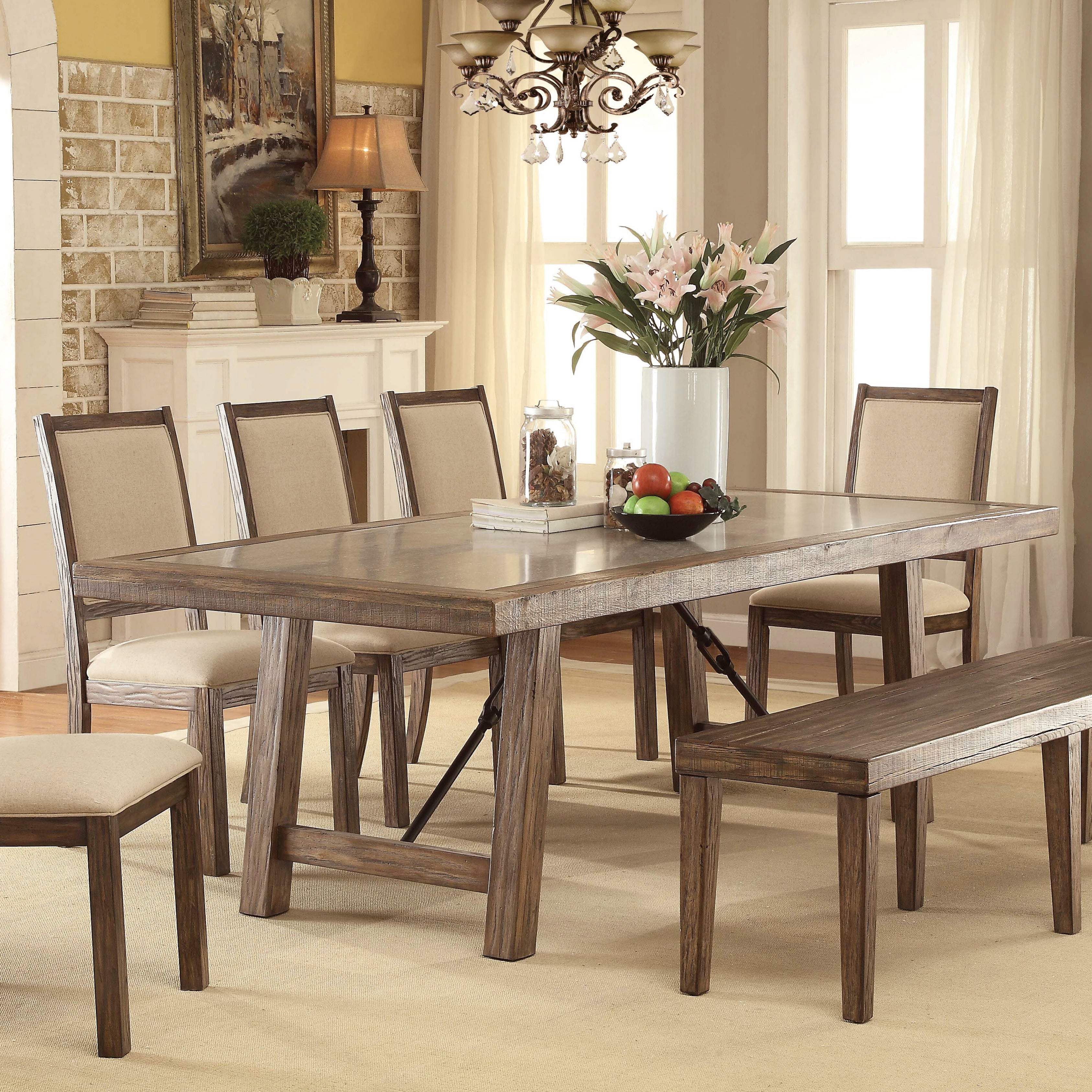 shop furniture of america bailey rustic weathered elm stone top rh overstock com round stone top dining room table