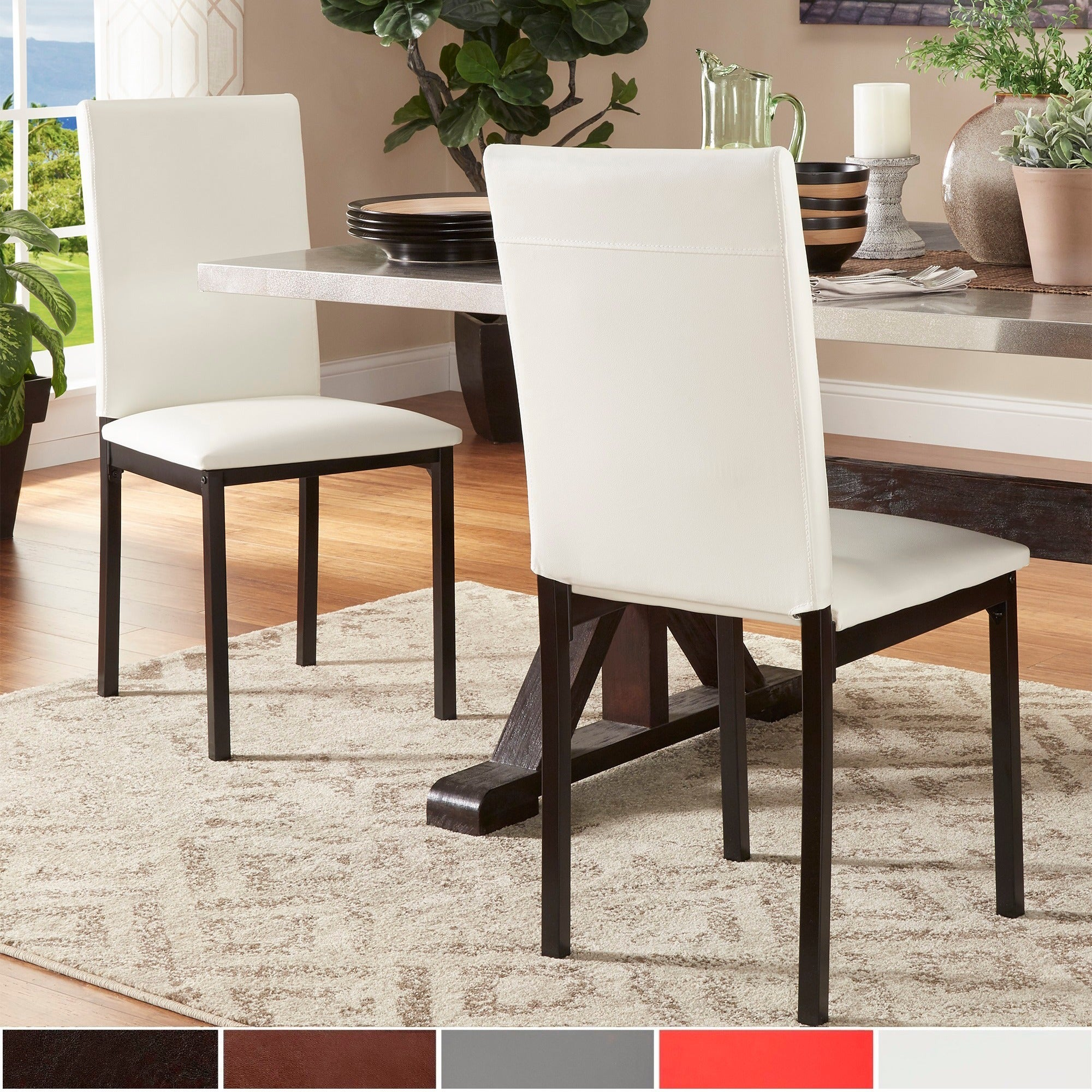 Darcy Espresso Metal Upholstered Dining Chair by iNSPIRE Q Bold (Set of 2)  - Free Shipping Today - Overstock.com - 17494102