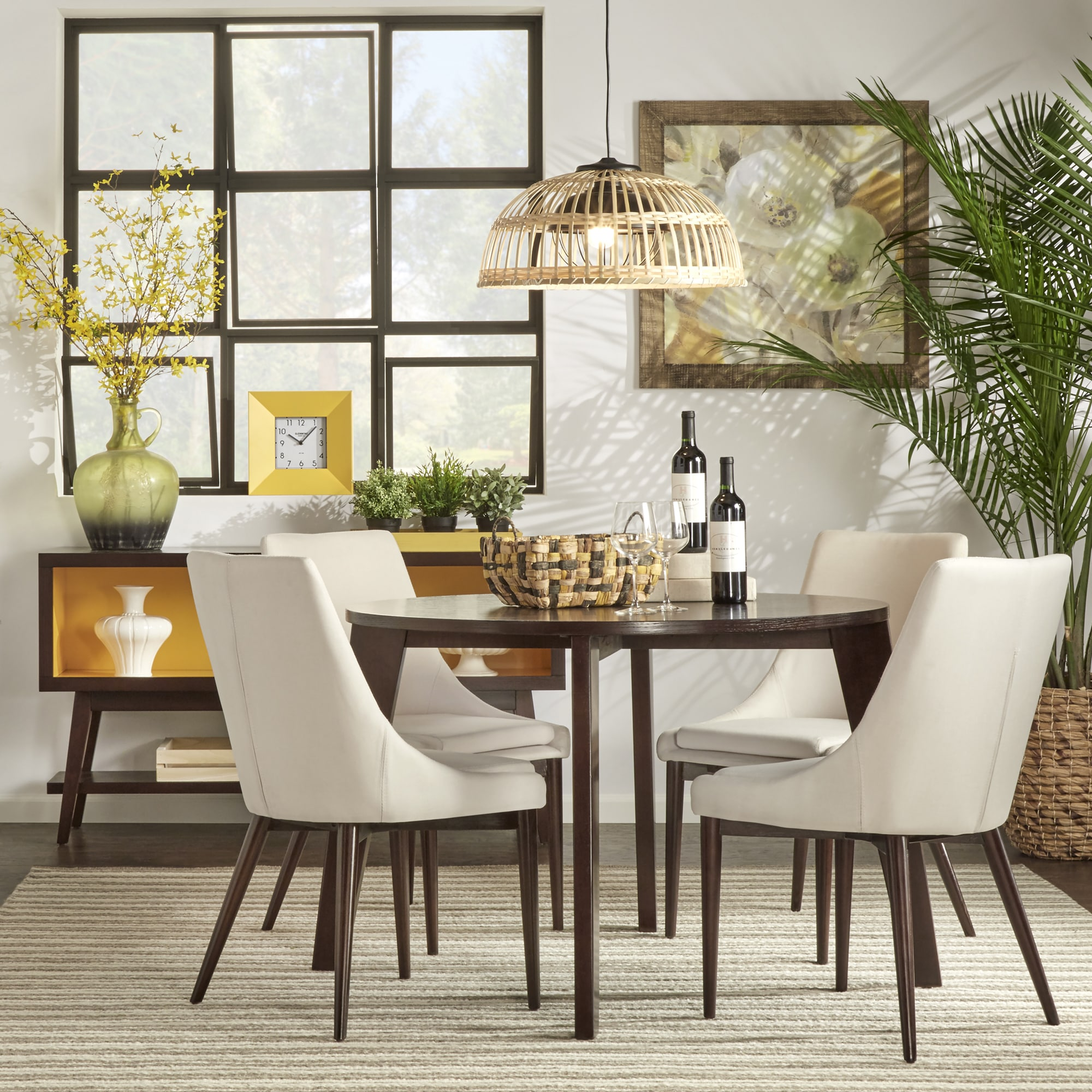 Sasha Brown Angled Leg Round 5-piece Dining Set iNSPIRE Q Modern - Free  Shipping Today - Overstock.com - 17494115