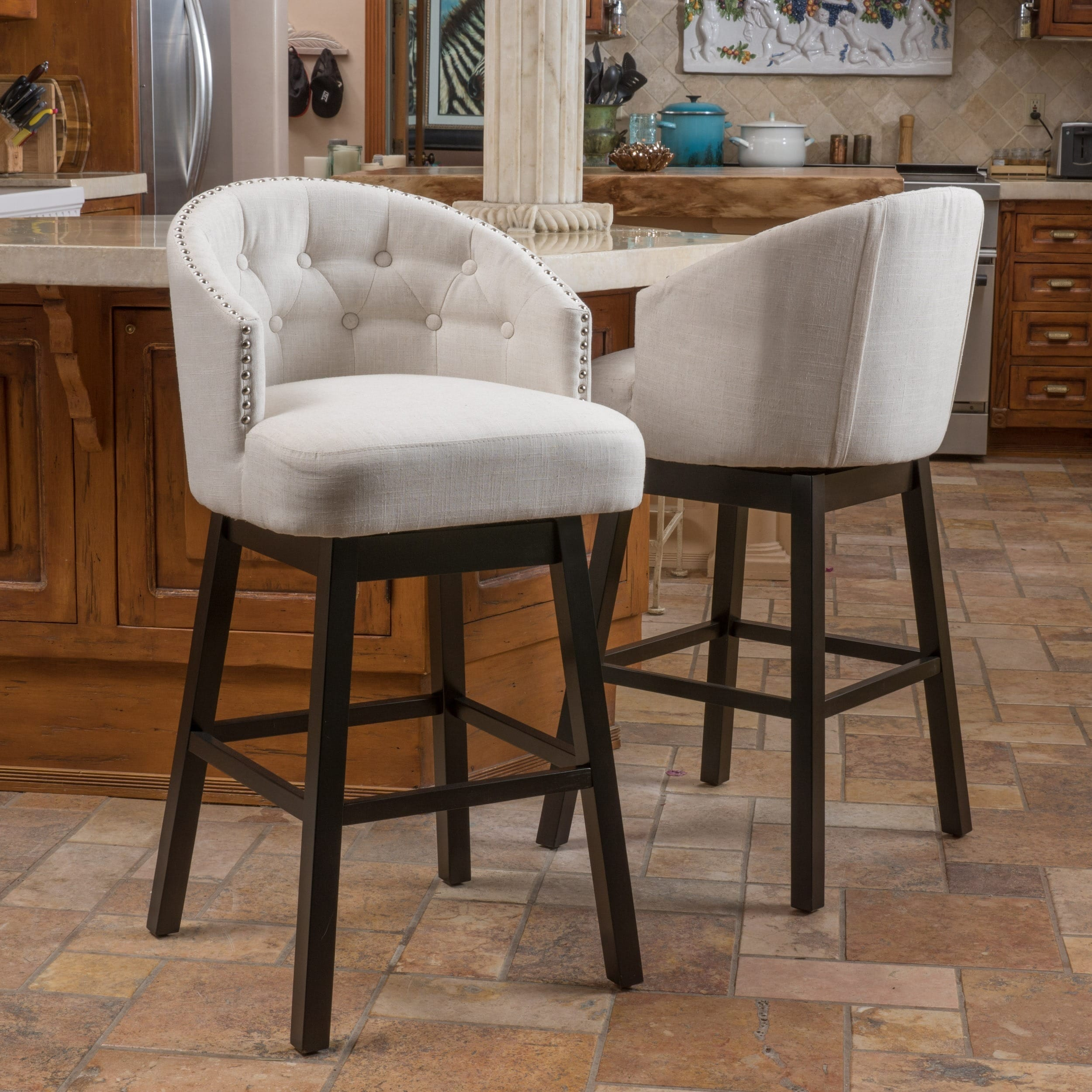 Ogden 29 Inch Fabric Swivel Backed Barstool Set Of 2 By Christopher Knight Home On Free Shipping Today 10391542