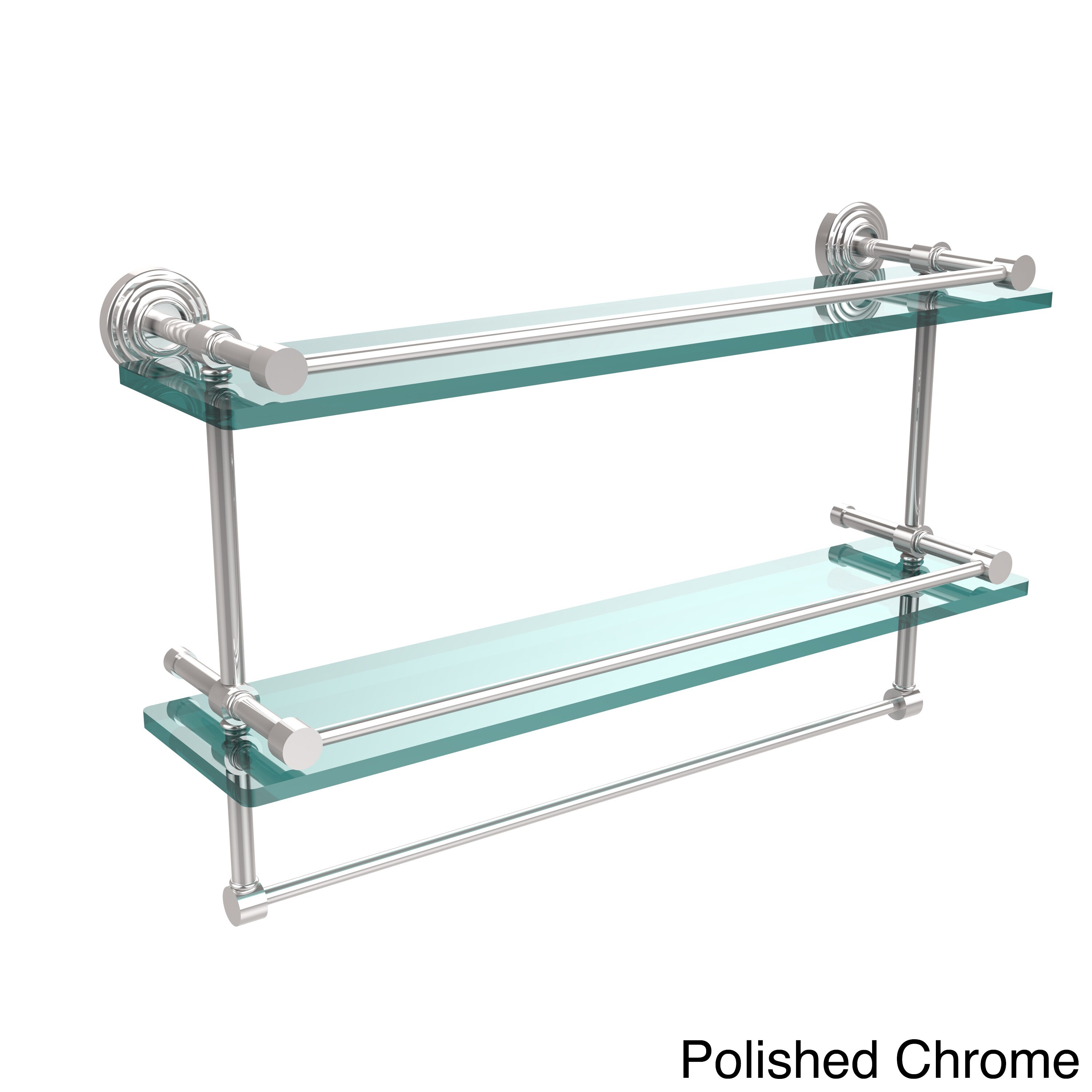 Shop Waverly Place 22 Inch Gallery Double Glass Shelf With Towel Bar