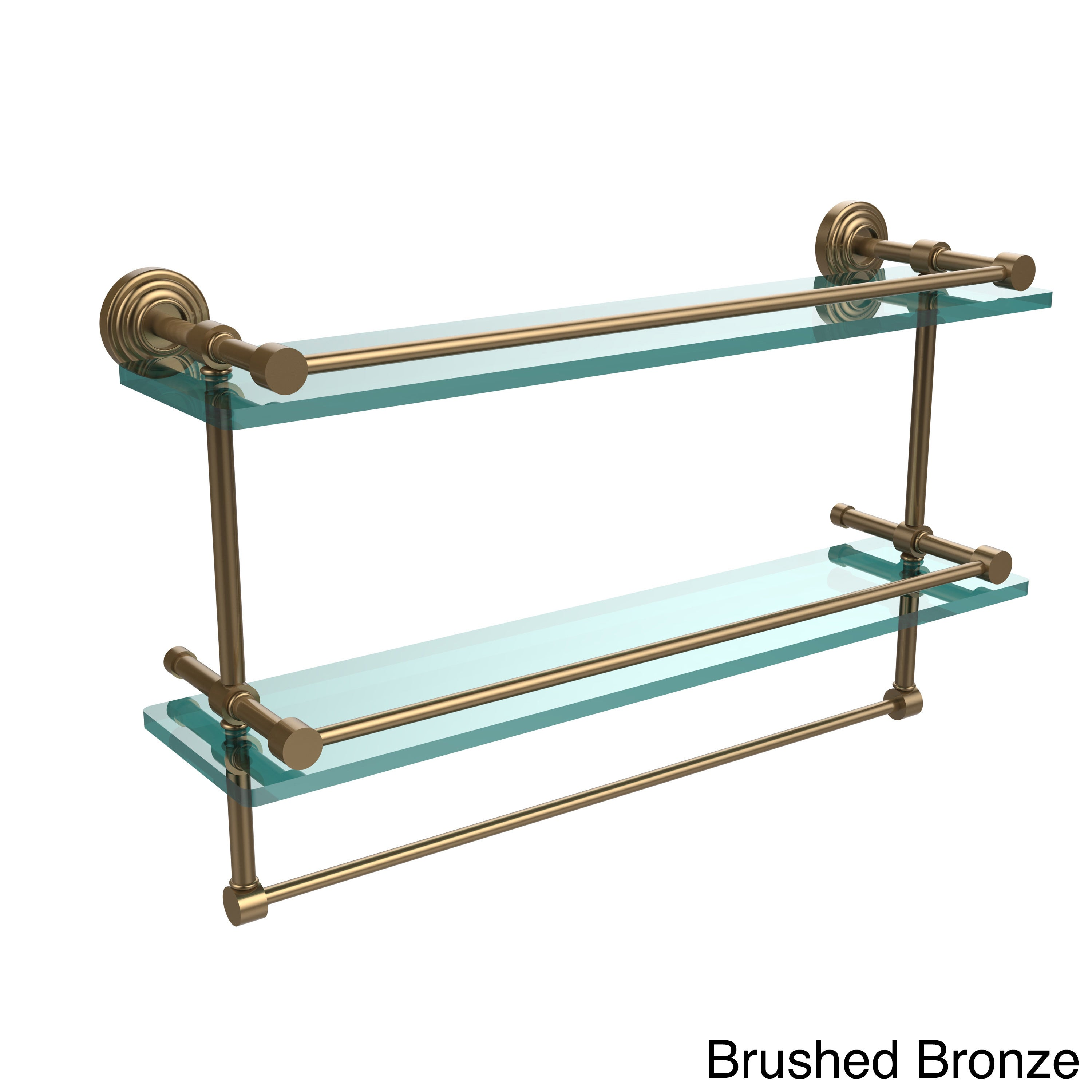 Shop Waverly Place 22-inch Gallery Double Glass Shelf with Towel Bar ...