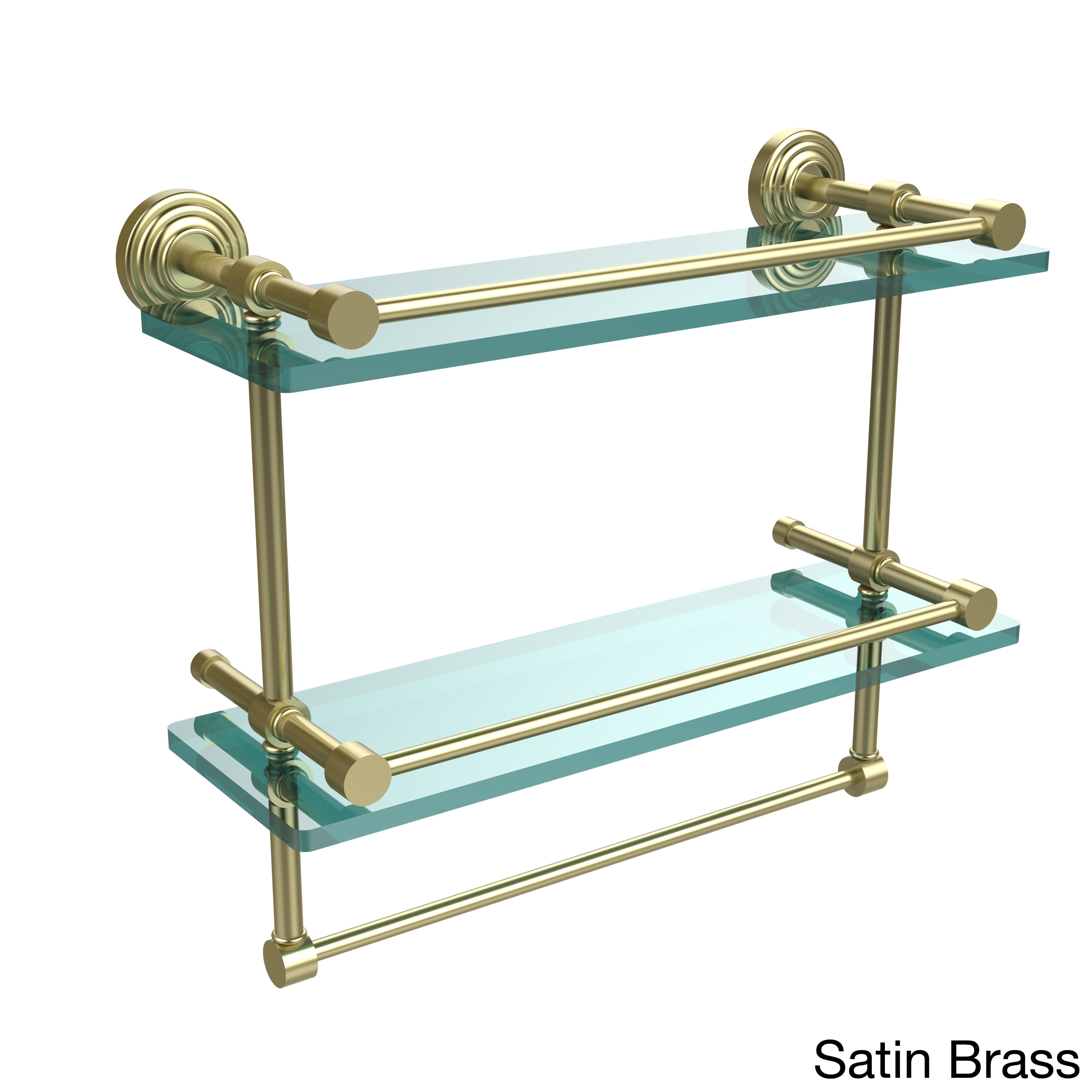 Shop Waverly Place 16-inch Gallery Double Glass Shelf with Towel Bar ...