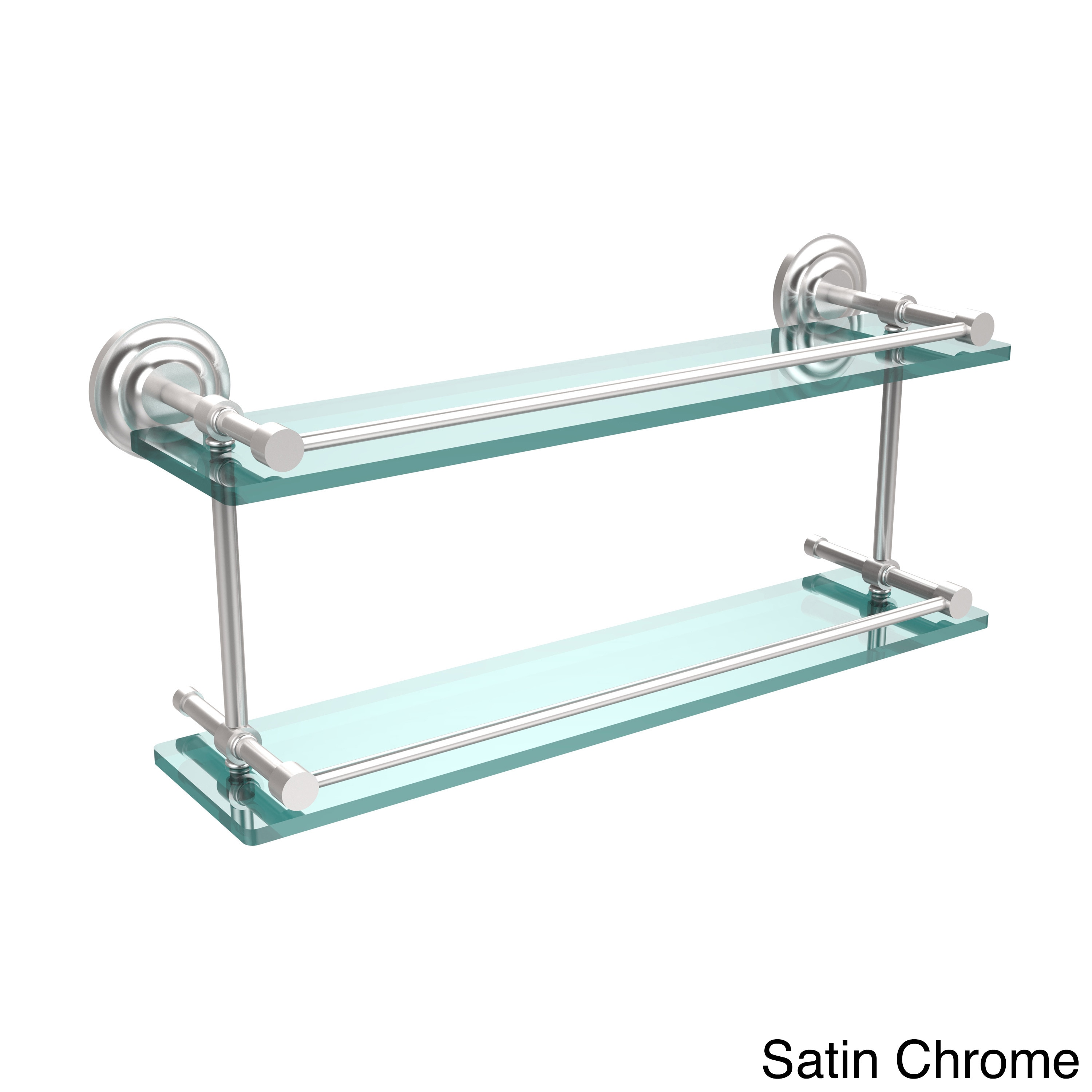 Shop Que New 22-inch Double Glass Shelf with Gallery Rail - On Sale ...