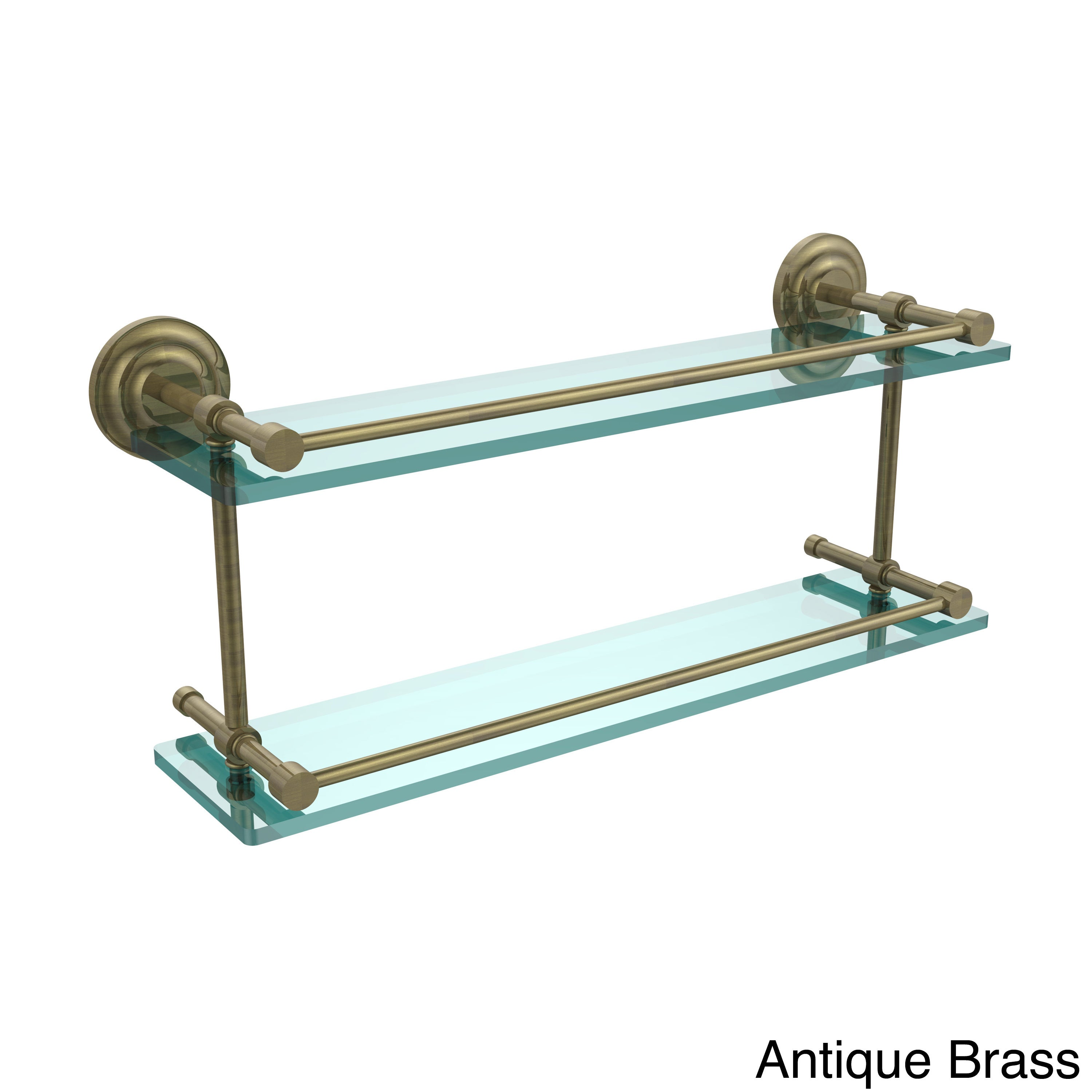 Que New 22-inch Double Glass Shelf with Gallery Rail - Free Shipping ...