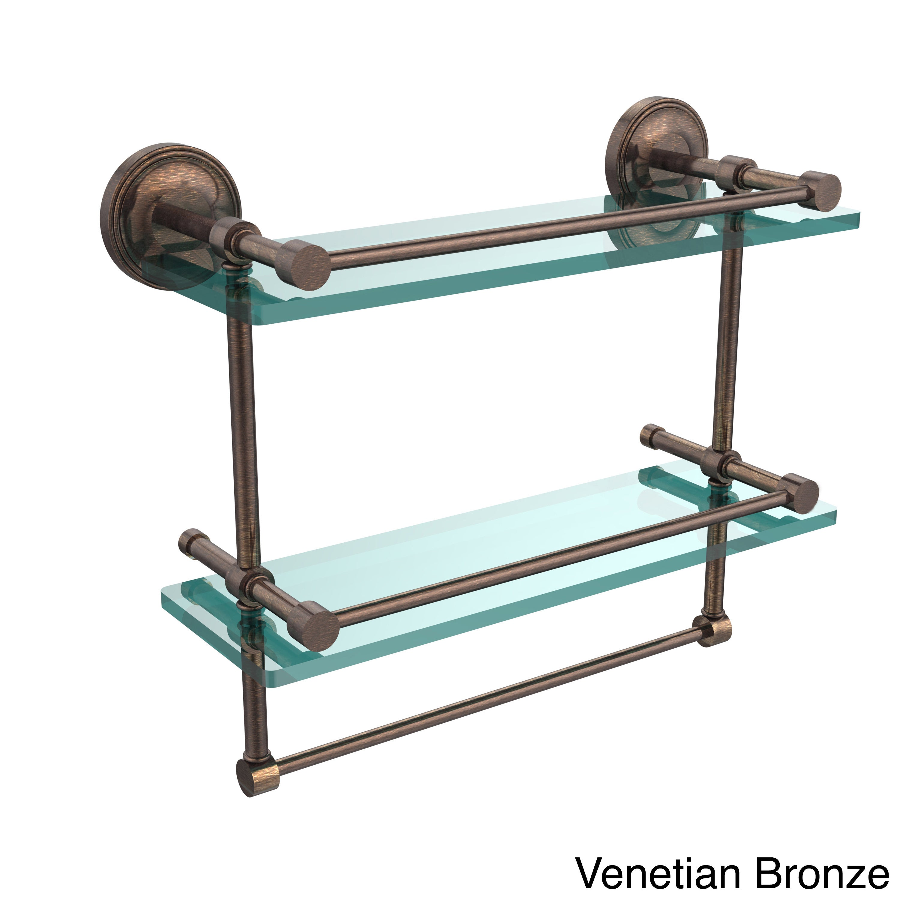 Shop Gallery Double Glass Shelf with Towel Bar - On Sale - Free ...