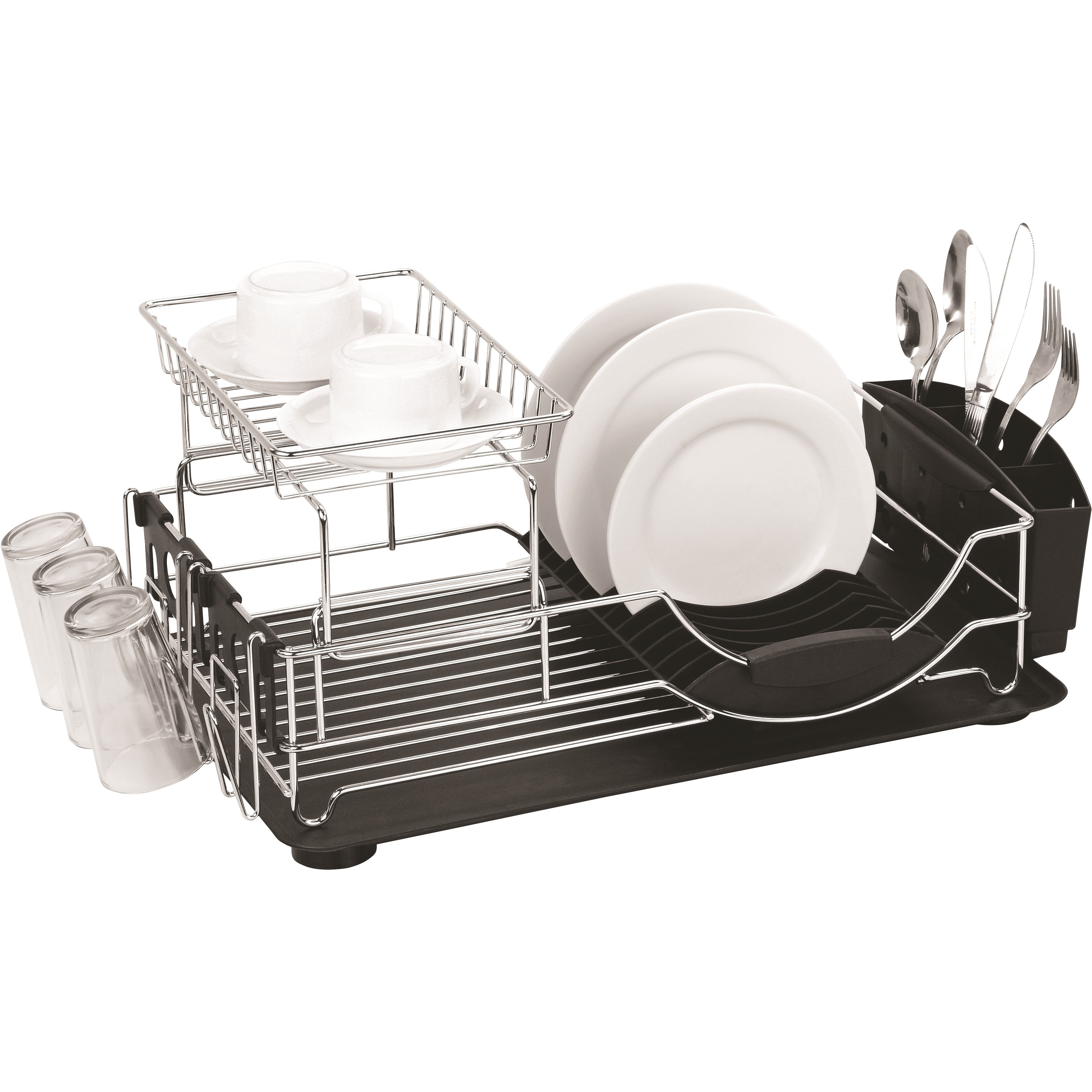 Shop Home Basics Chrome Plated Steel 2 Tier Deluxe Dish Drainer