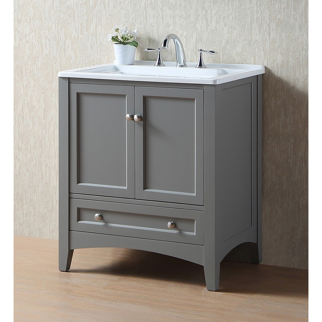 Shop stufurhome 30 inch grey laundry utility sink free shipping today overstock com 10394619