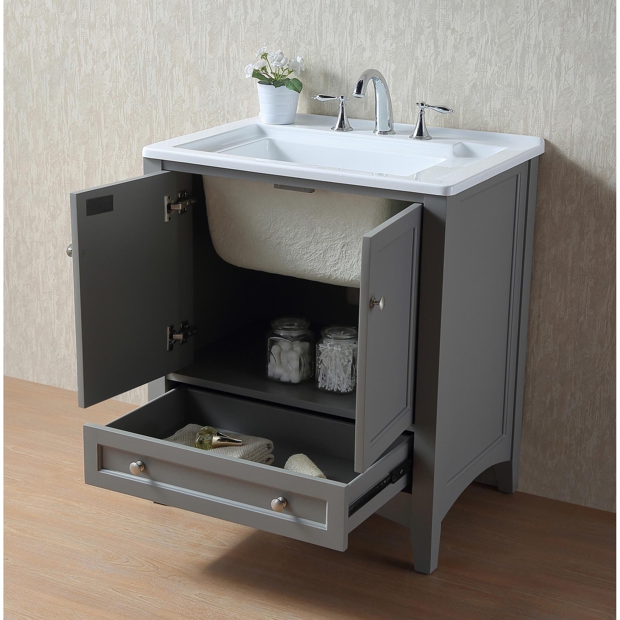 Shop Stufurhome 30 inch Grey Laundry Utility Sink - Free Shipping ...