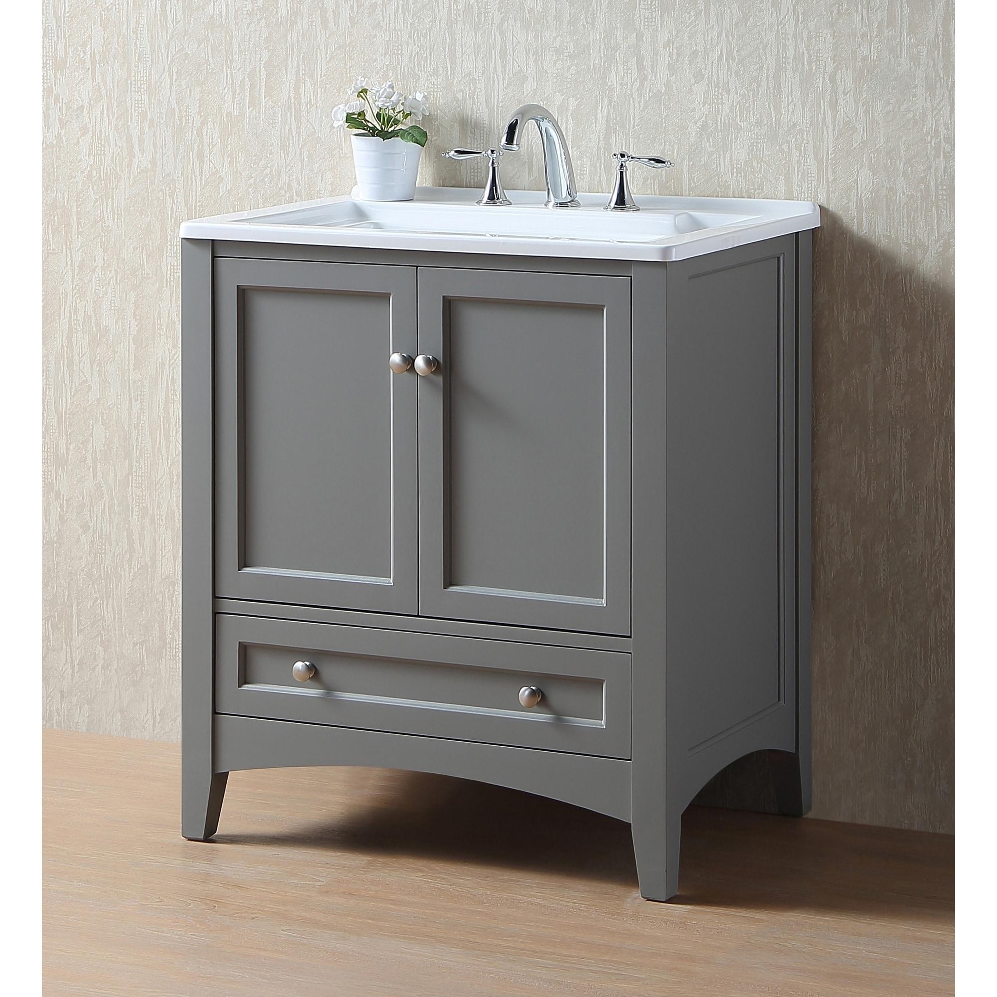 Utility Sink.Stufurhome 30 Inch Grey Laundry Utility Sink