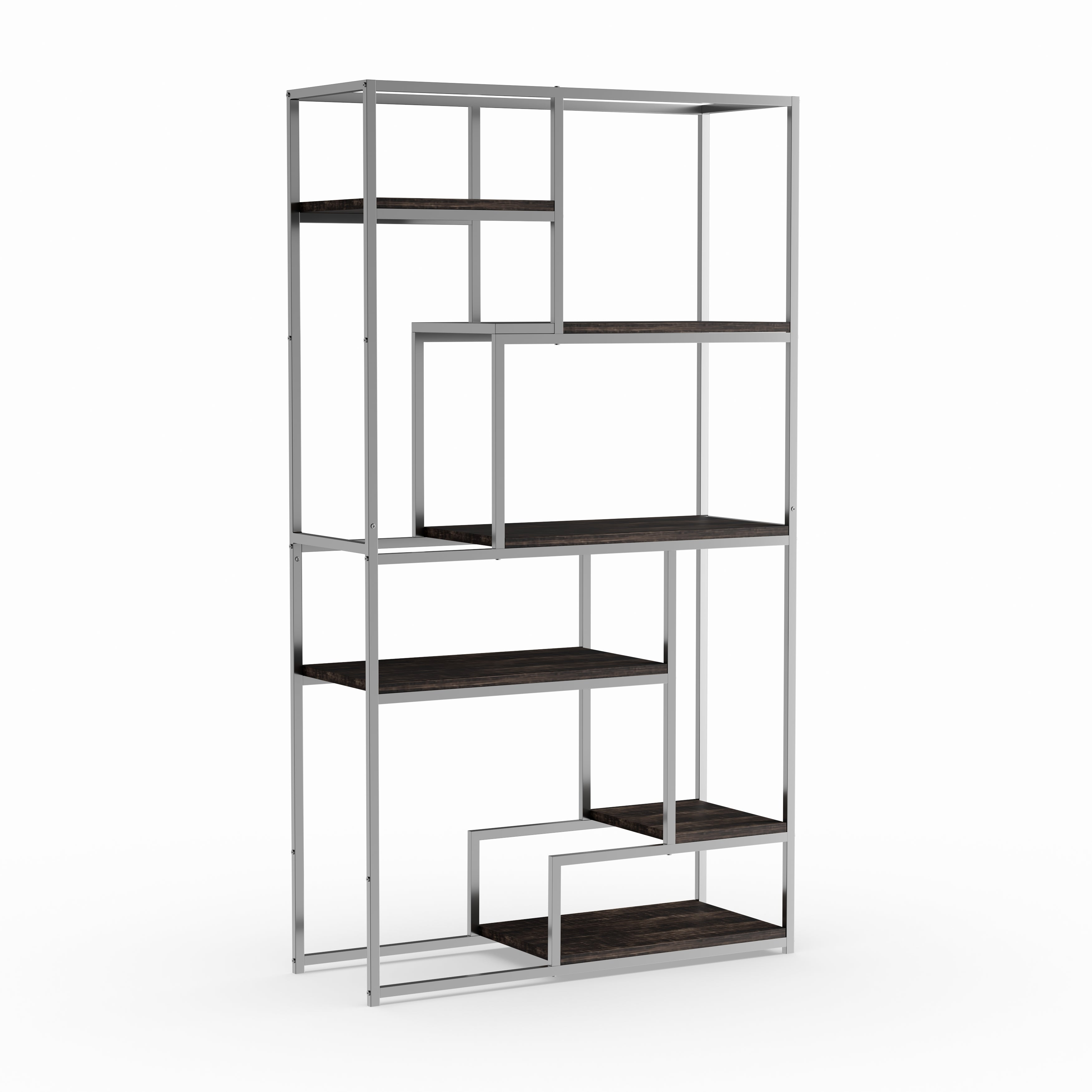 Shop furniture of america nara contemporary 6 shelf tiered open bookcase on sale free shipping today overstock com 10395481