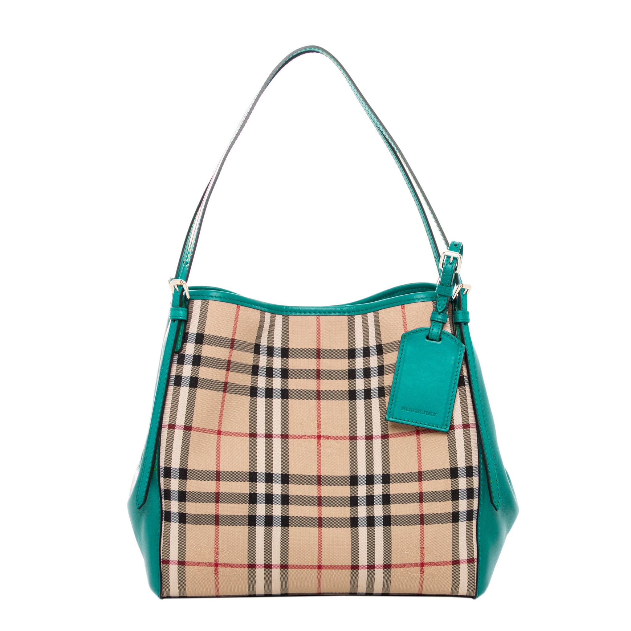 450f88329c37 Shop Burberry Small Canter Horseferry Check Leather Handbag - Free Shipping  Today - Overstock.com - 10395685
