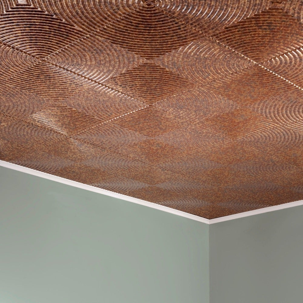 Shop Fasade Echo Cracked Copper 2 Feet X 2 Feet Glue Up Ceiling Tile